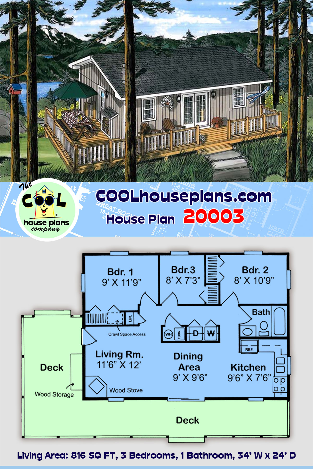 Cabin, Traditional House Plan 20003 with 3 Beds, 1 Baths