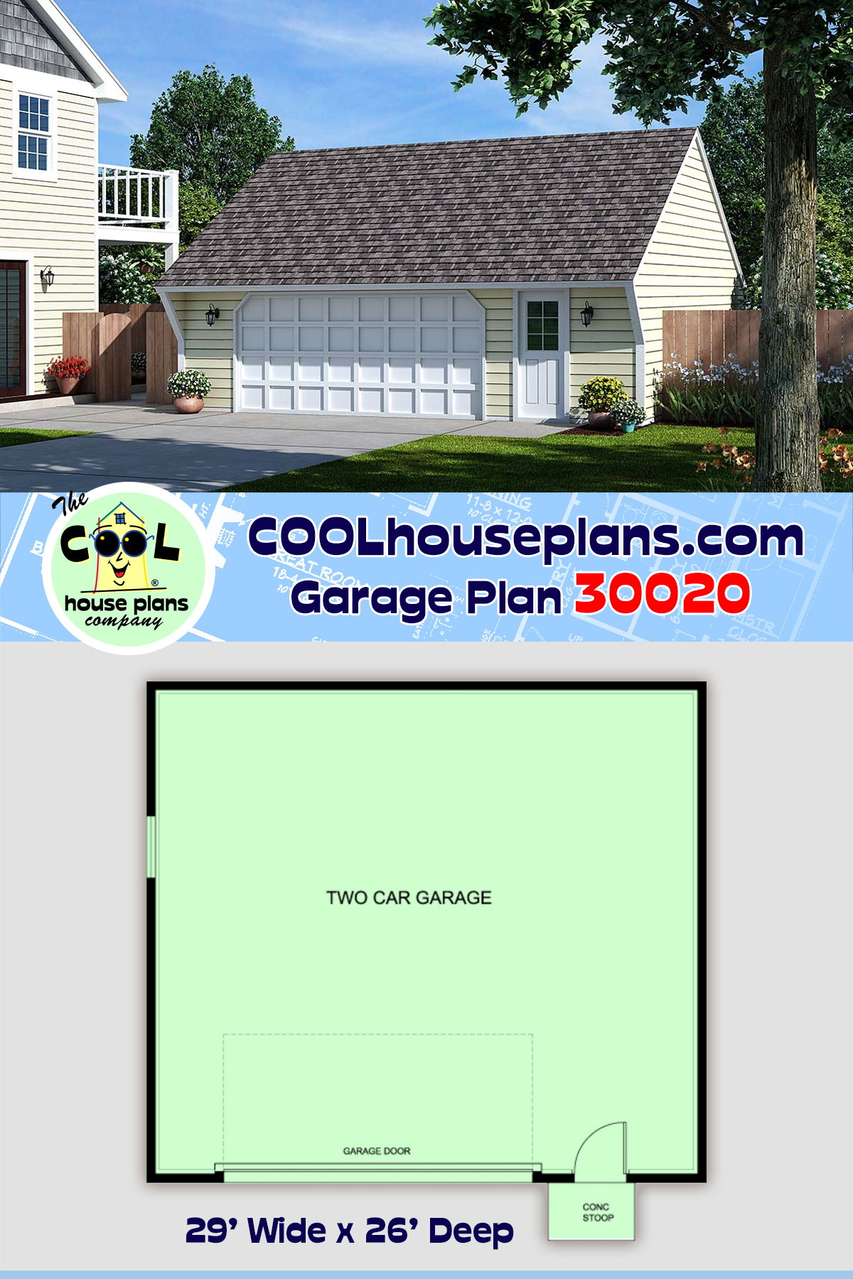 Cape Cod, Saltbox, Traditional 2 Car Garage Plan 30020