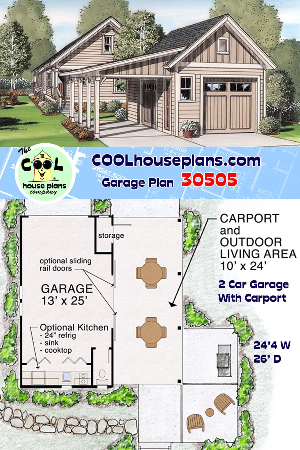 Craftsman, Farmhouse, Traditional 2 Car Garage Plan 30505