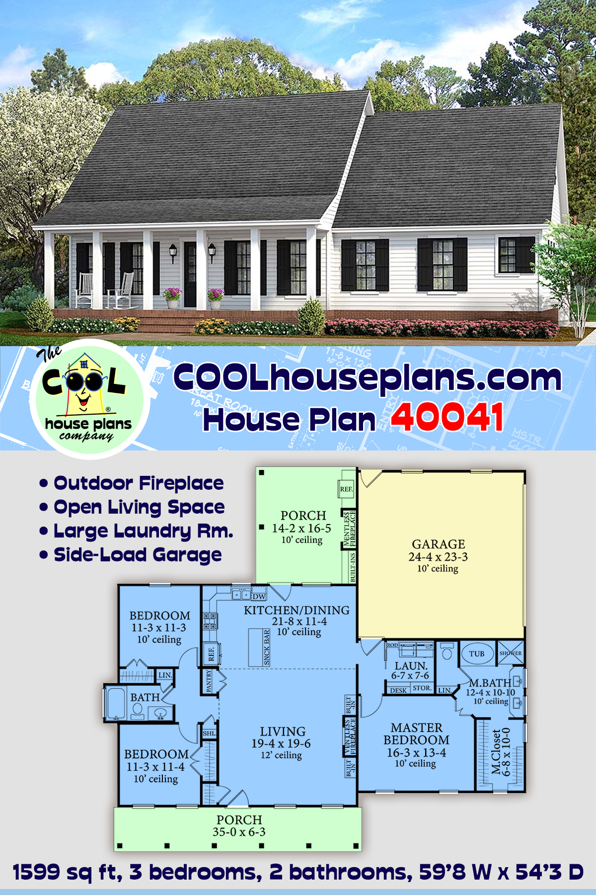 Cabin, Cottage, Country, Farmhouse, Southern, Traditional House Plan 40041 with 3 Beds, 2 Baths, 2 Car Garage