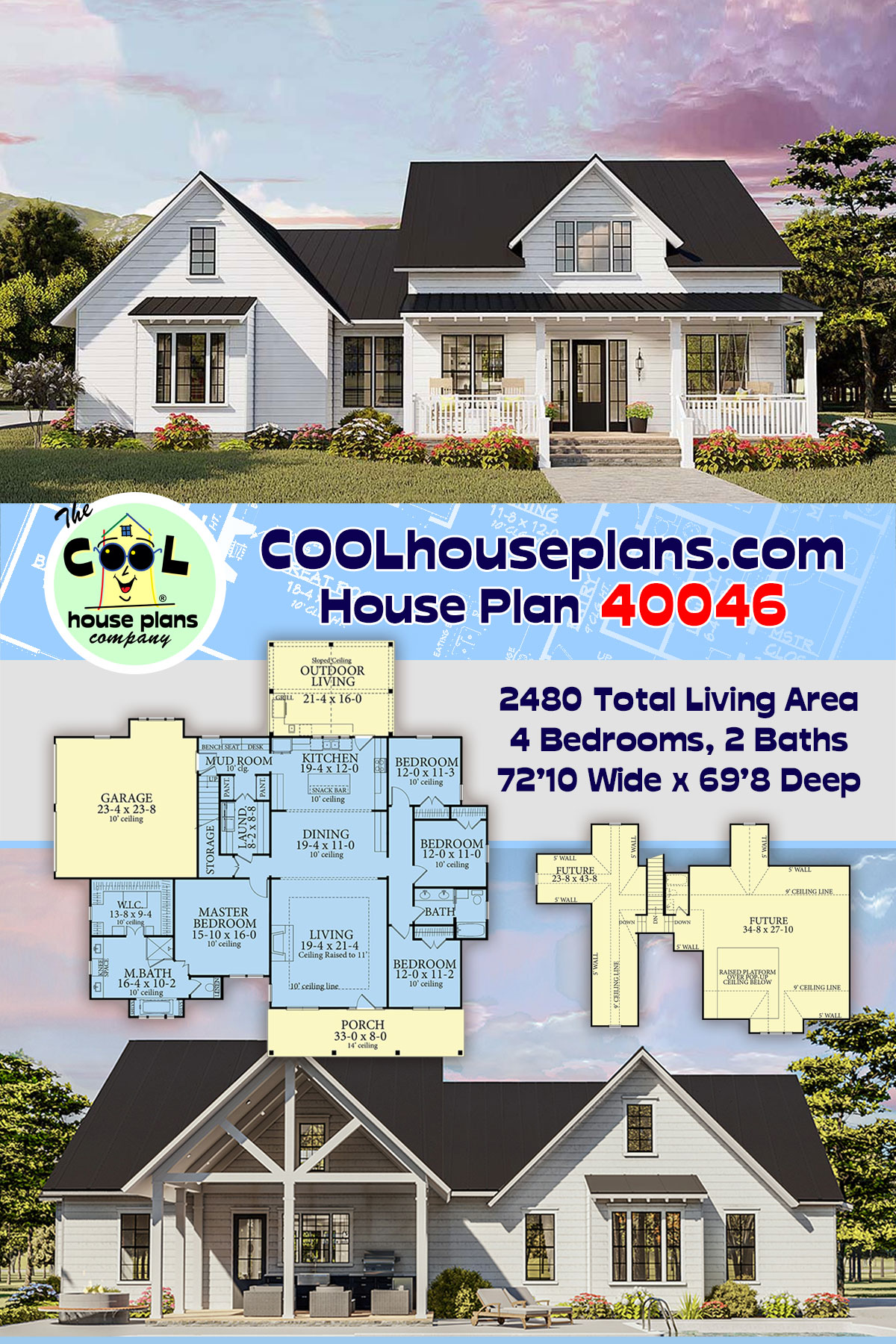 Cottage, Country, Craftsman, Farmhouse, Ranch, Southern, Traditional House Plan 40046 with 4 Beds, 2 Baths, 2 Car Garage