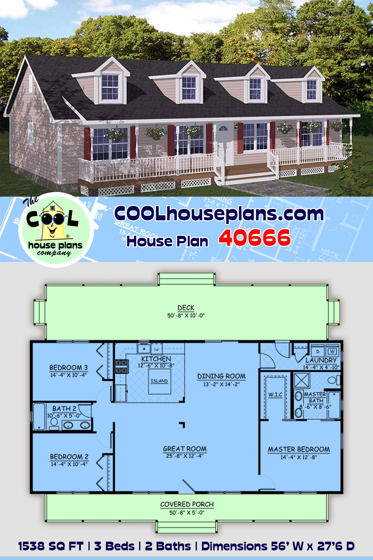 Country, Ranch, Southern House Plan 40666 with 3 Beds, 2 Baths