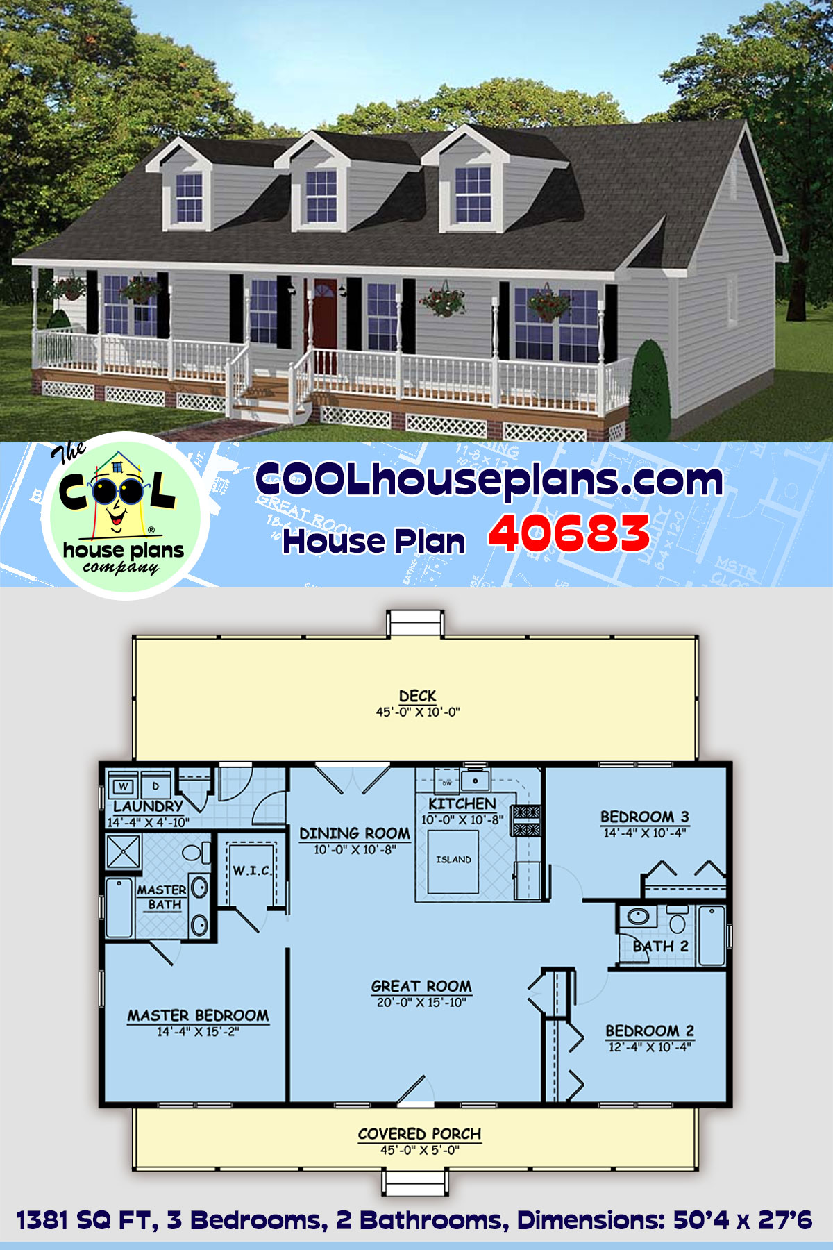 Country, Ranch, Southern House Plan 40683 with 3 Beds, 2 Baths