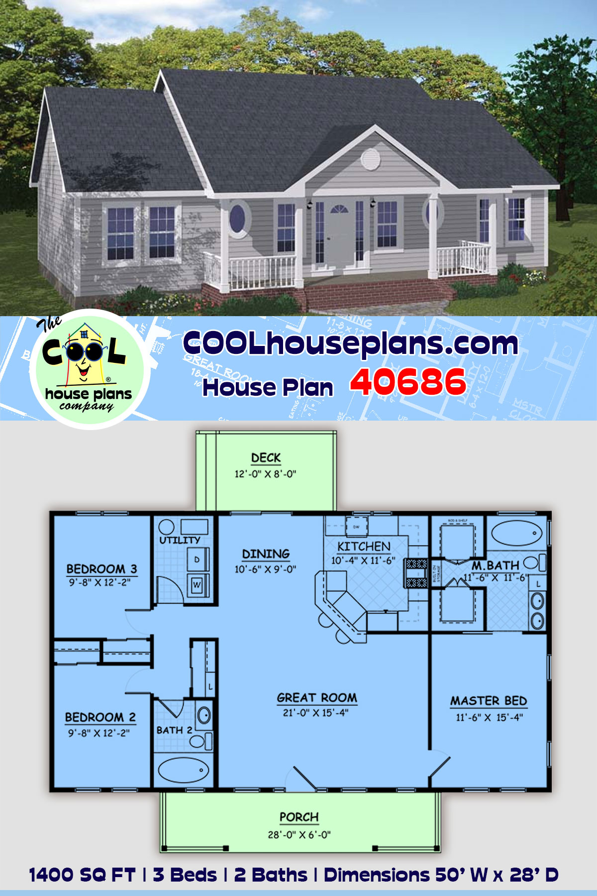Country, Ranch House Plan 40686 with 3 Beds, 2 Baths