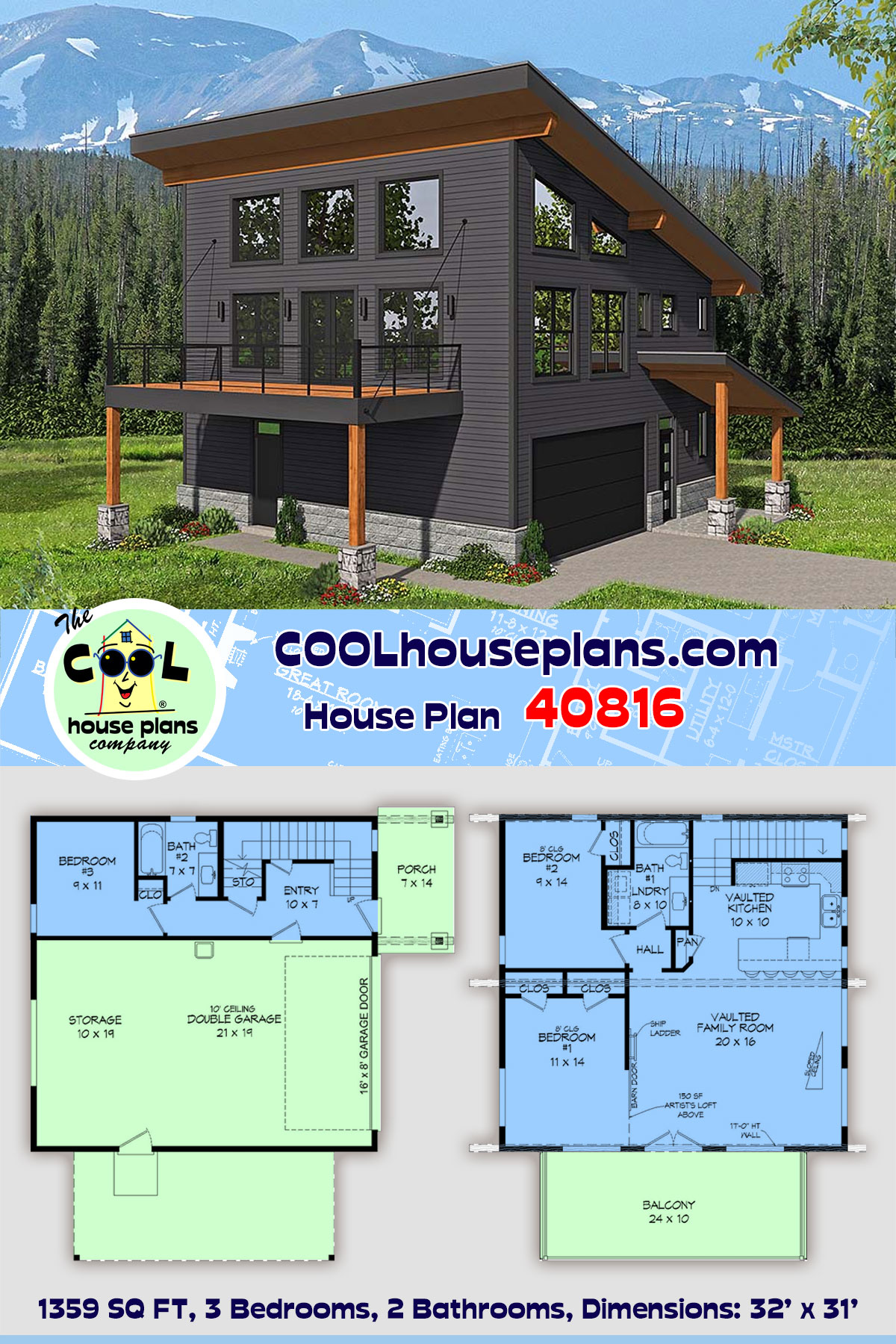 Contemporary, Modern Garage-Living Plan 40816 with 3 Beds, 2 Baths, 2 Car Garage