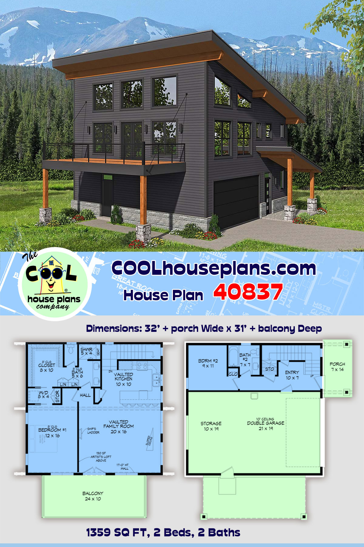 Contemporary, Modern House Plan 40837 with 2 Beds, 2 Baths, 2 Car Garage