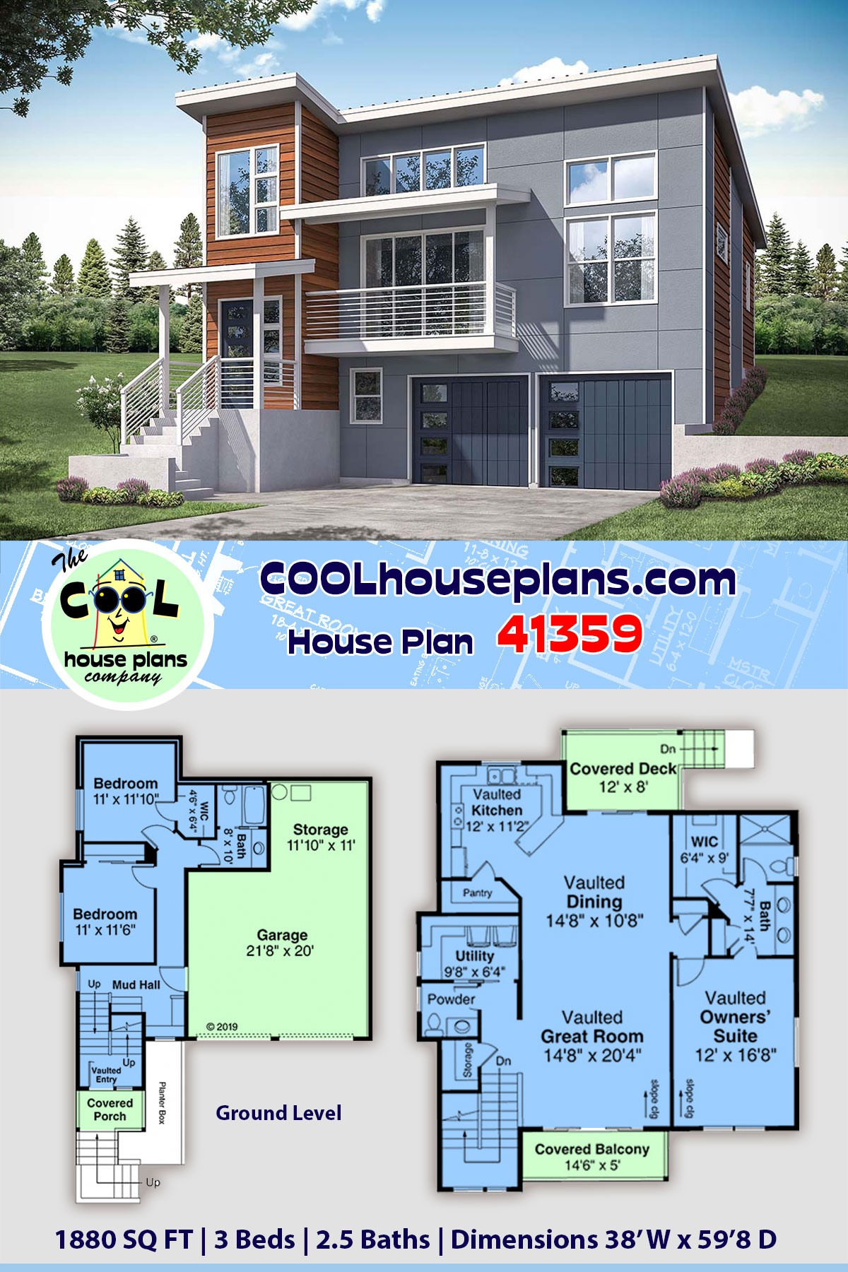 Contemporary, Modern, Narrow Lot House Plan 41359 with 3 Beds, 3 Baths, 2 Car Garage