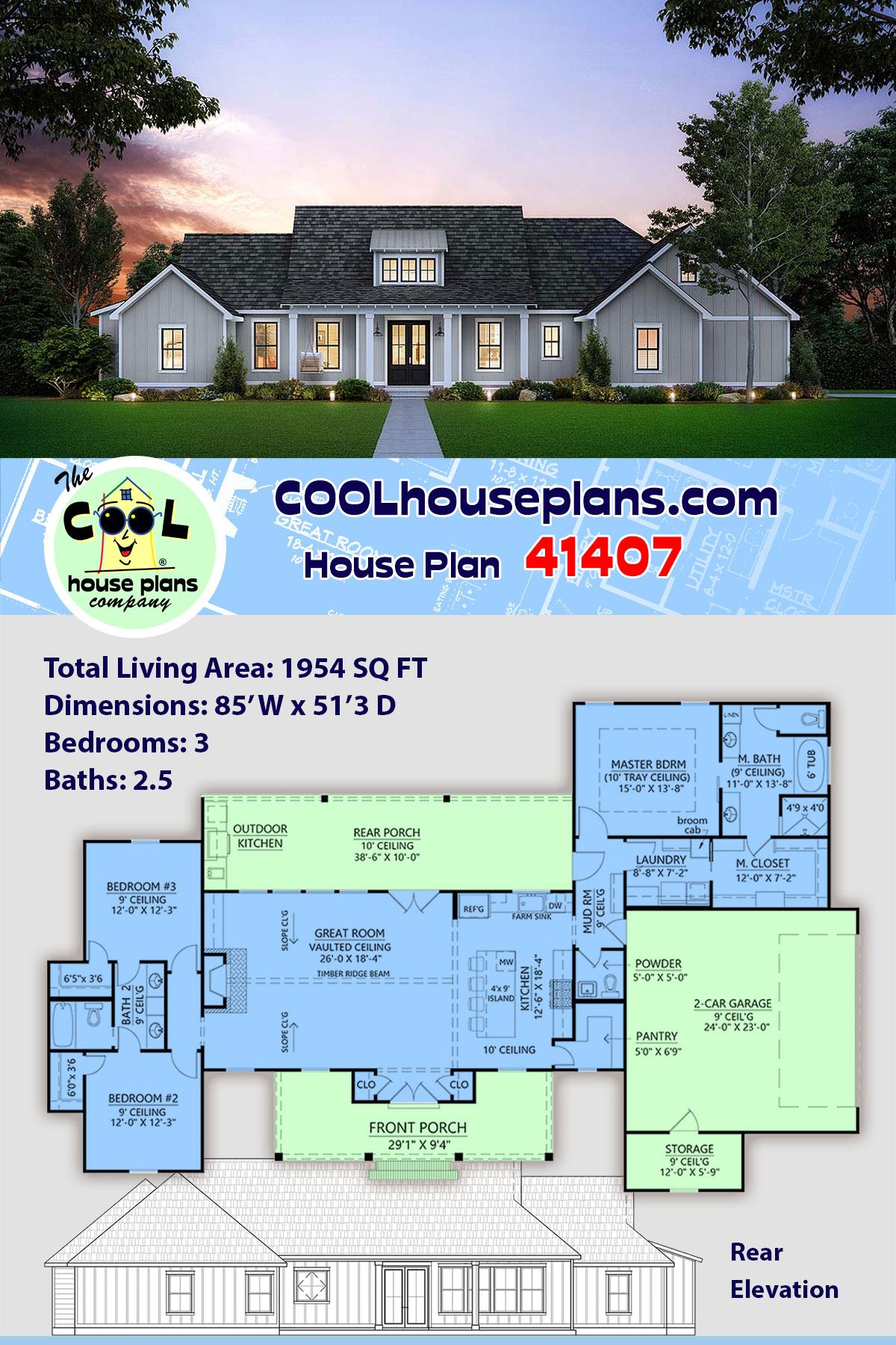 Country, Farmhouse, Southern House Plan 41407 with 3 Beds, 3 Baths, 2 Car Garage