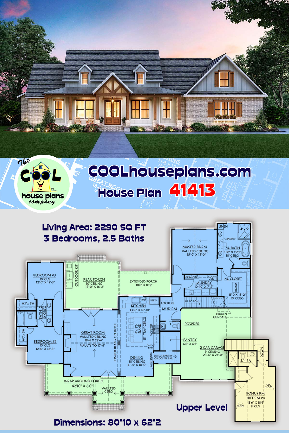 Cottage, Country, Craftsman House Plan 41413 with 3 Beds, 3 Baths, 2 Car Garage
