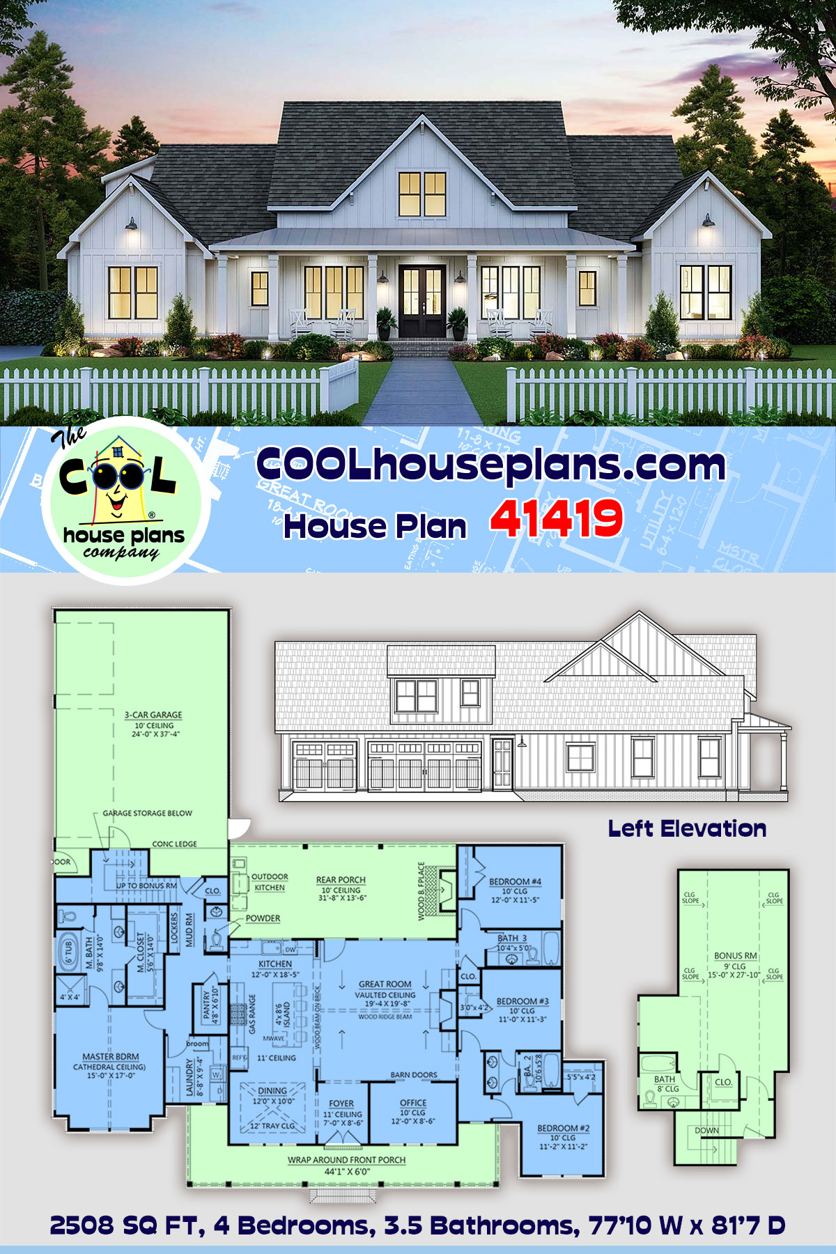 Country, Farmhouse House Plan 41419 with 4 Beds, 4 Baths, 3 Car Garage