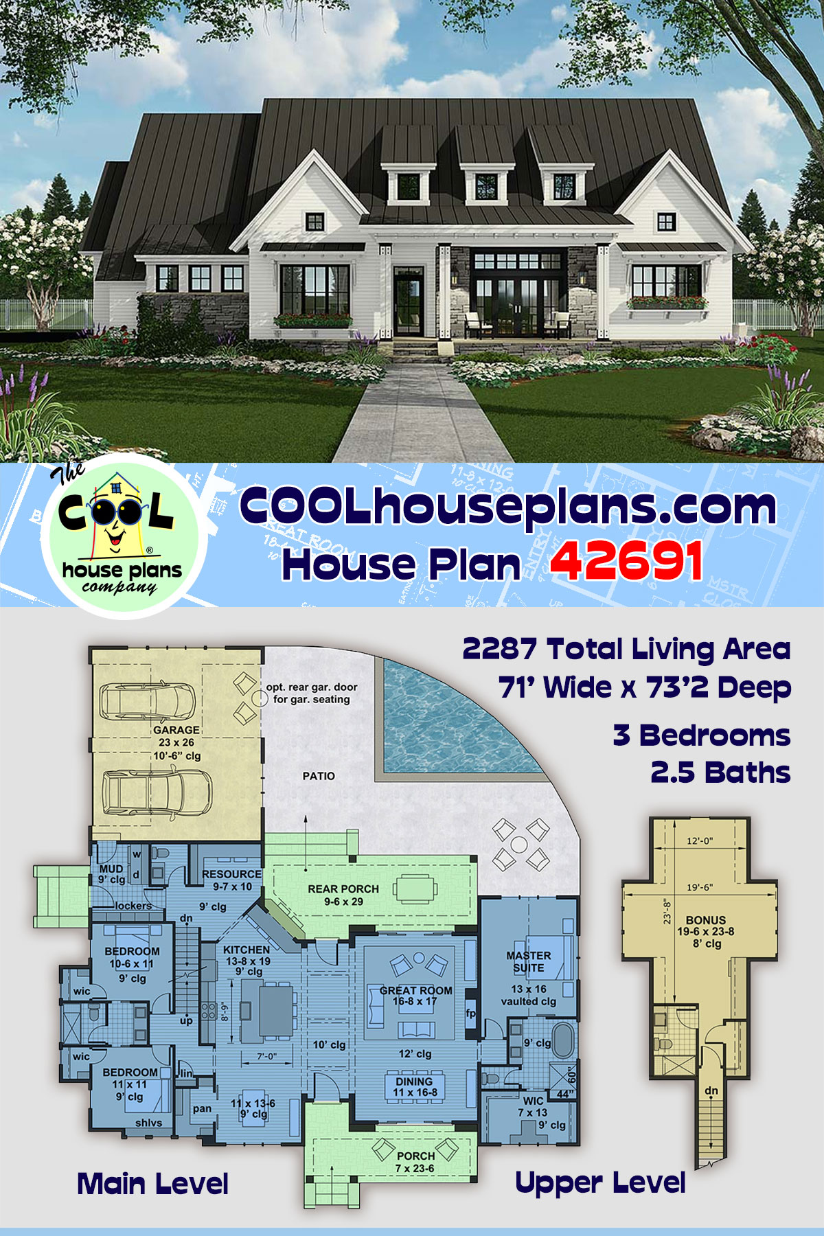 Country, Farmhouse, Traditional House Plan 42691 with 3 Beds, 3 Baths, 2 Car Garage