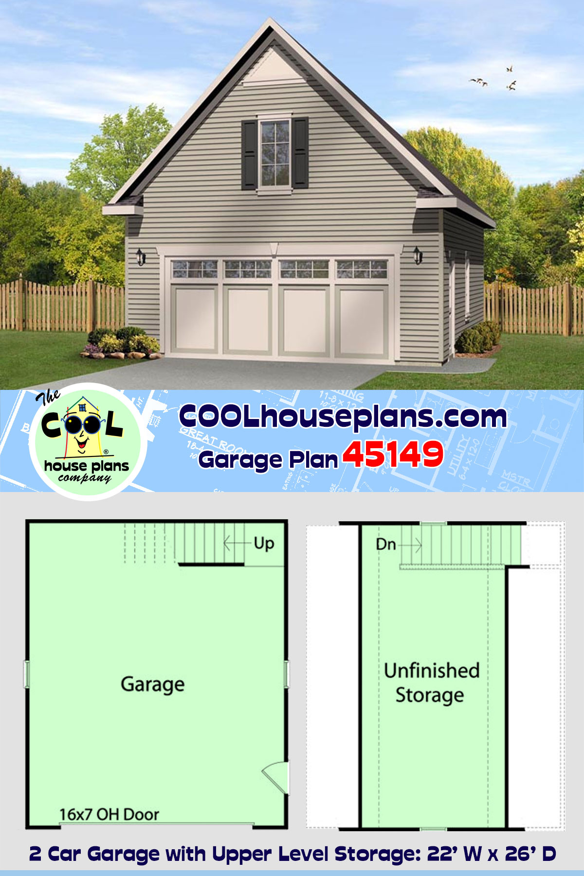 2 Car Garage Plan 45149