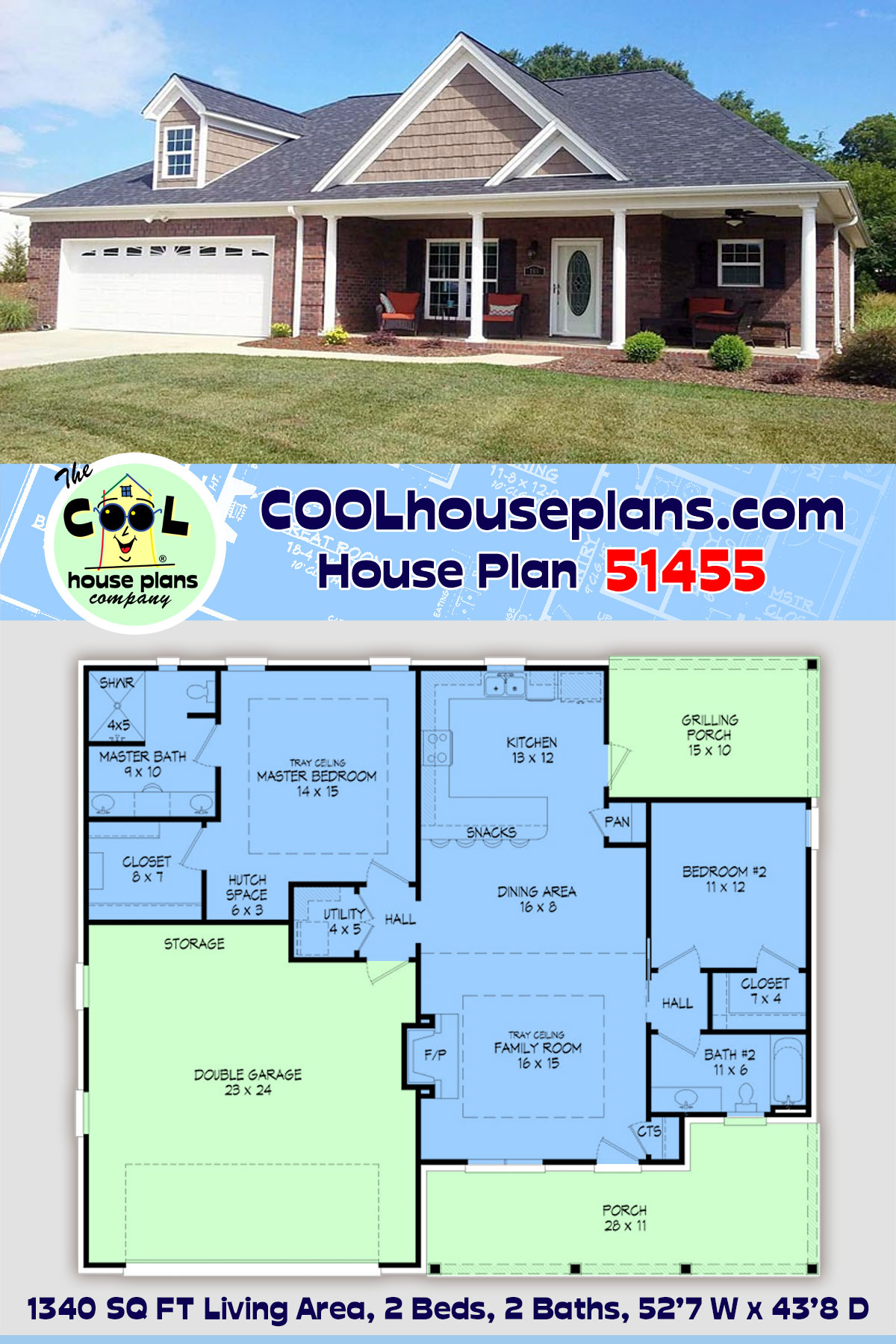 Ranch, Traditional House Plan 51455 with 2 Beds, 2 Baths, 2 Car Garage