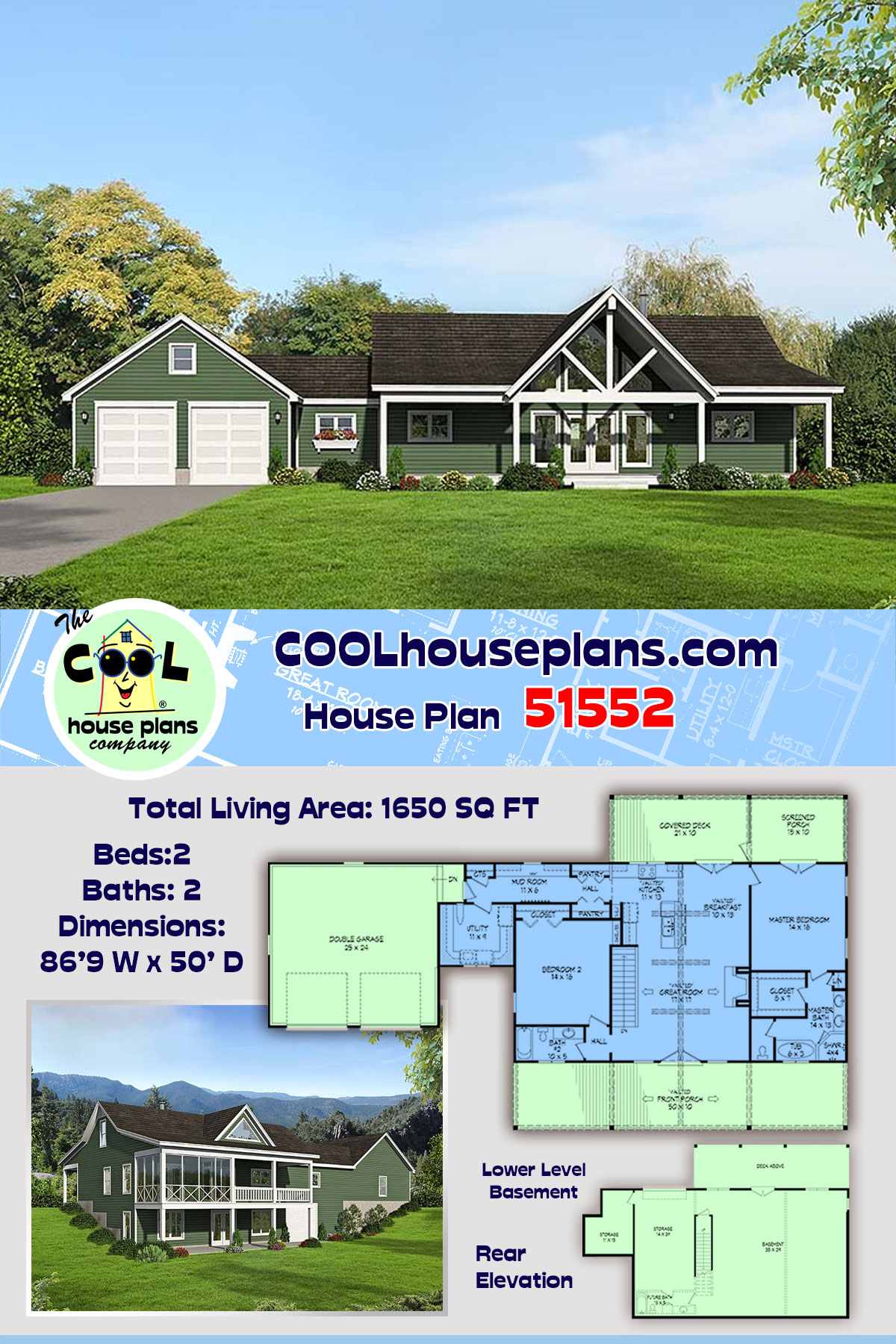 Contemporary, Country House Plan 51552 with 2 Beds, 2 Baths, 2 Car Garage