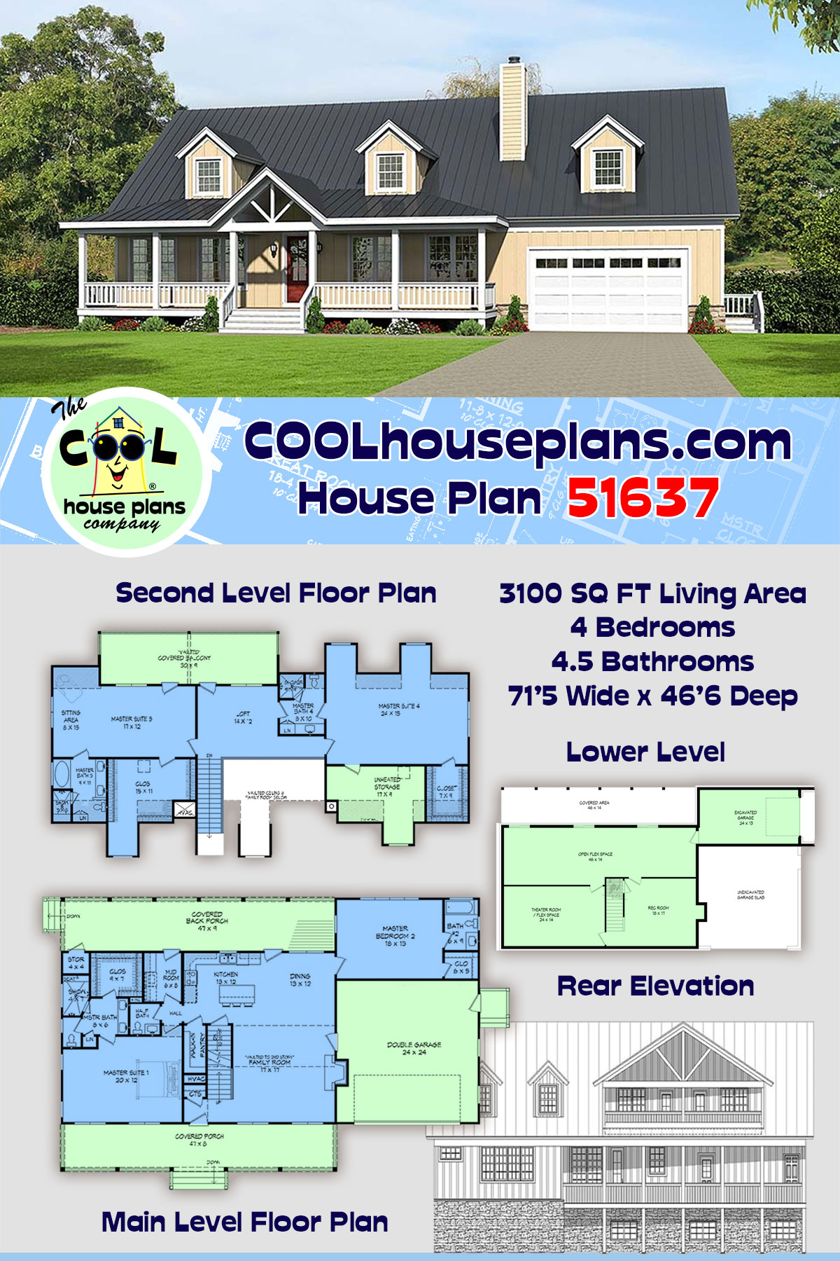Country, Southern House Plan 51637 with 4 Beds, 5 Baths, 2 Car Garage