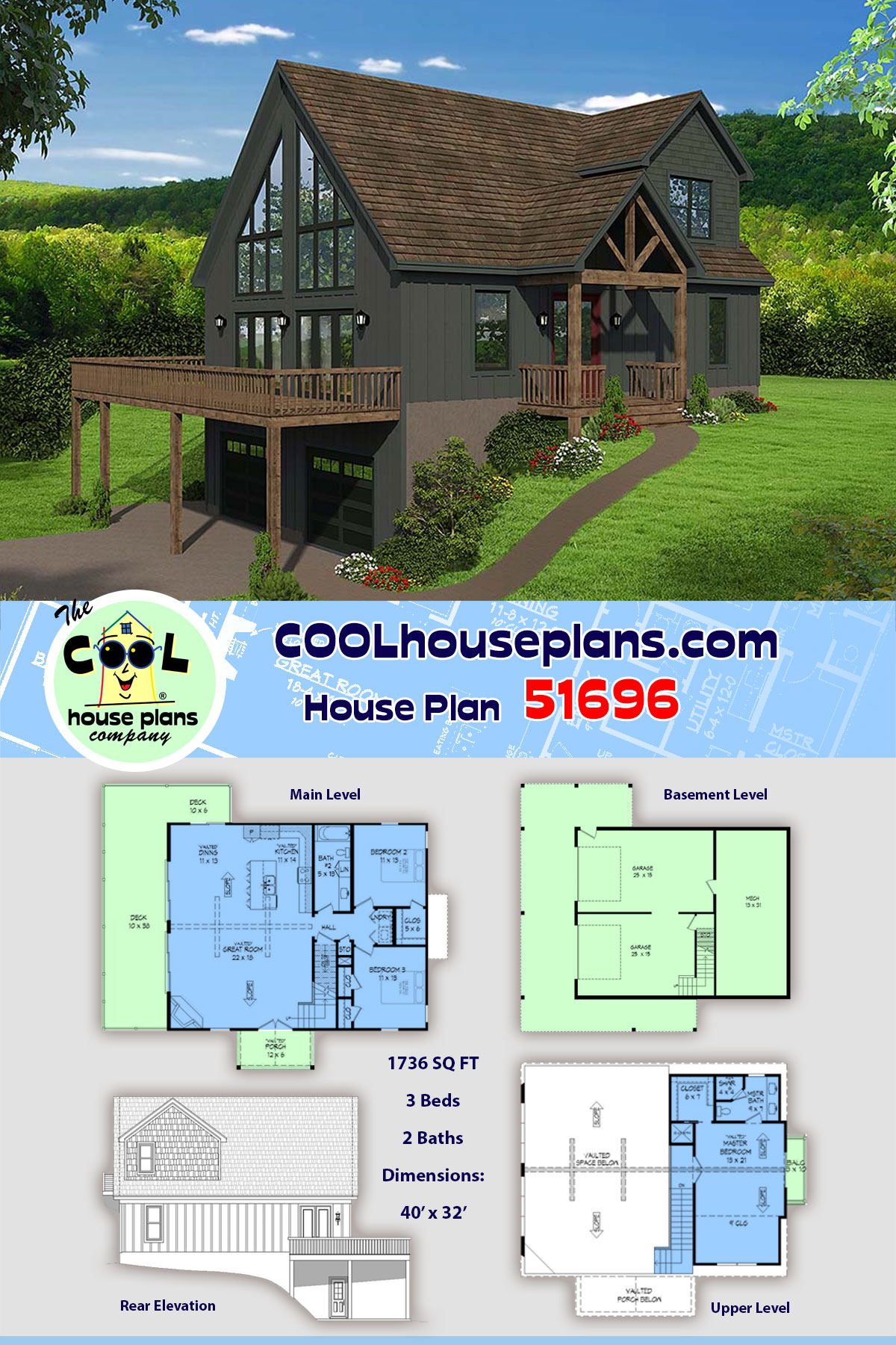 Contemporary, Country, Craftsman House Plan 51696 with 3 Beds, 2 Baths, 2 Car Garage