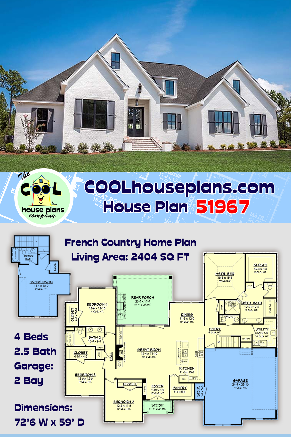 European, French Country House Plan 51967 with 4 Beds, 3 Baths, 2 Car Garage