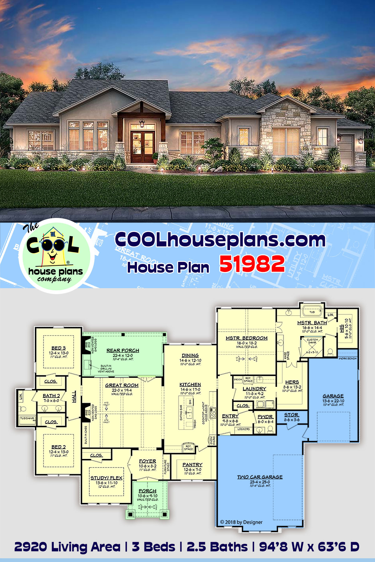 Bungalow, Contemporary, Cottage, Craftsman, Tuscan House Plan 51982 with 3 Beds, 3 Baths, 3 Car Garage