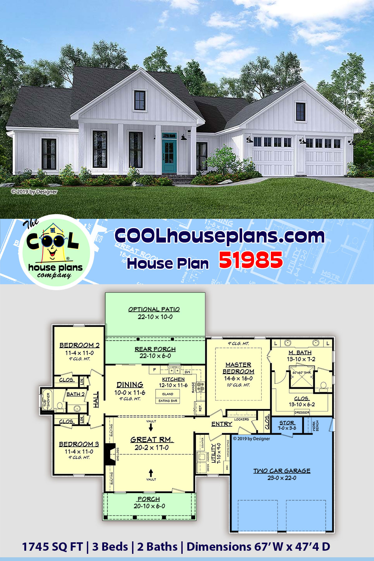 Country, Craftsman, Farmhouse, Southern House Plan 51985 with 3 Beds, 2 Baths, 2 Car Garage