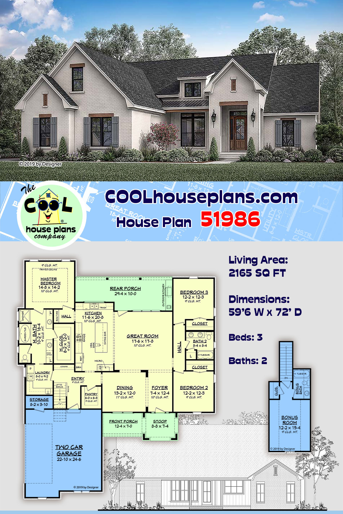 Country, European, Traditional House Plan 51986 with 3 Beds, 2 Baths, 2 Car Garage