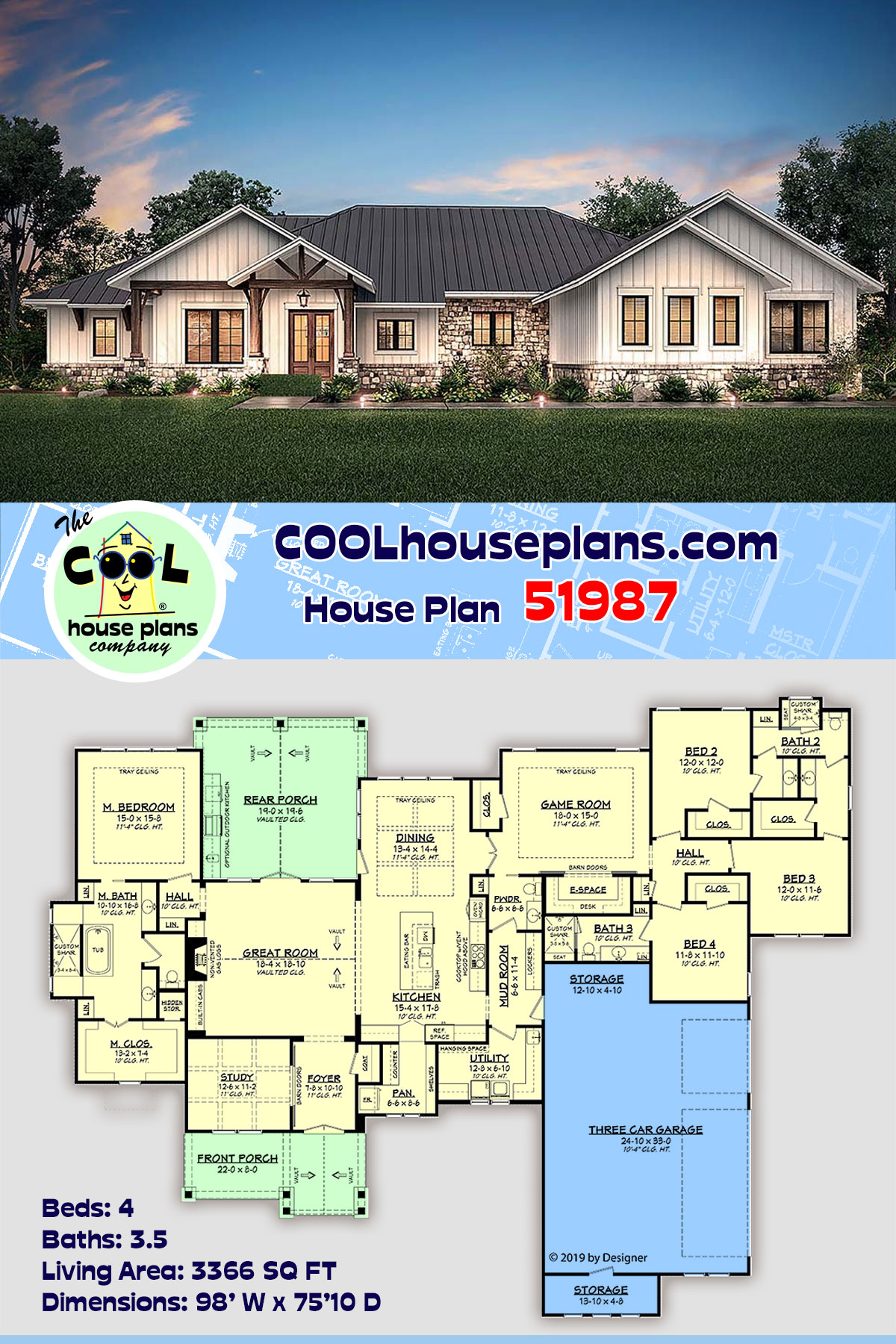 Country, Craftsman, Ranch House Plan 51987 with 4 Beds, 4 Baths, 3 Car Garage