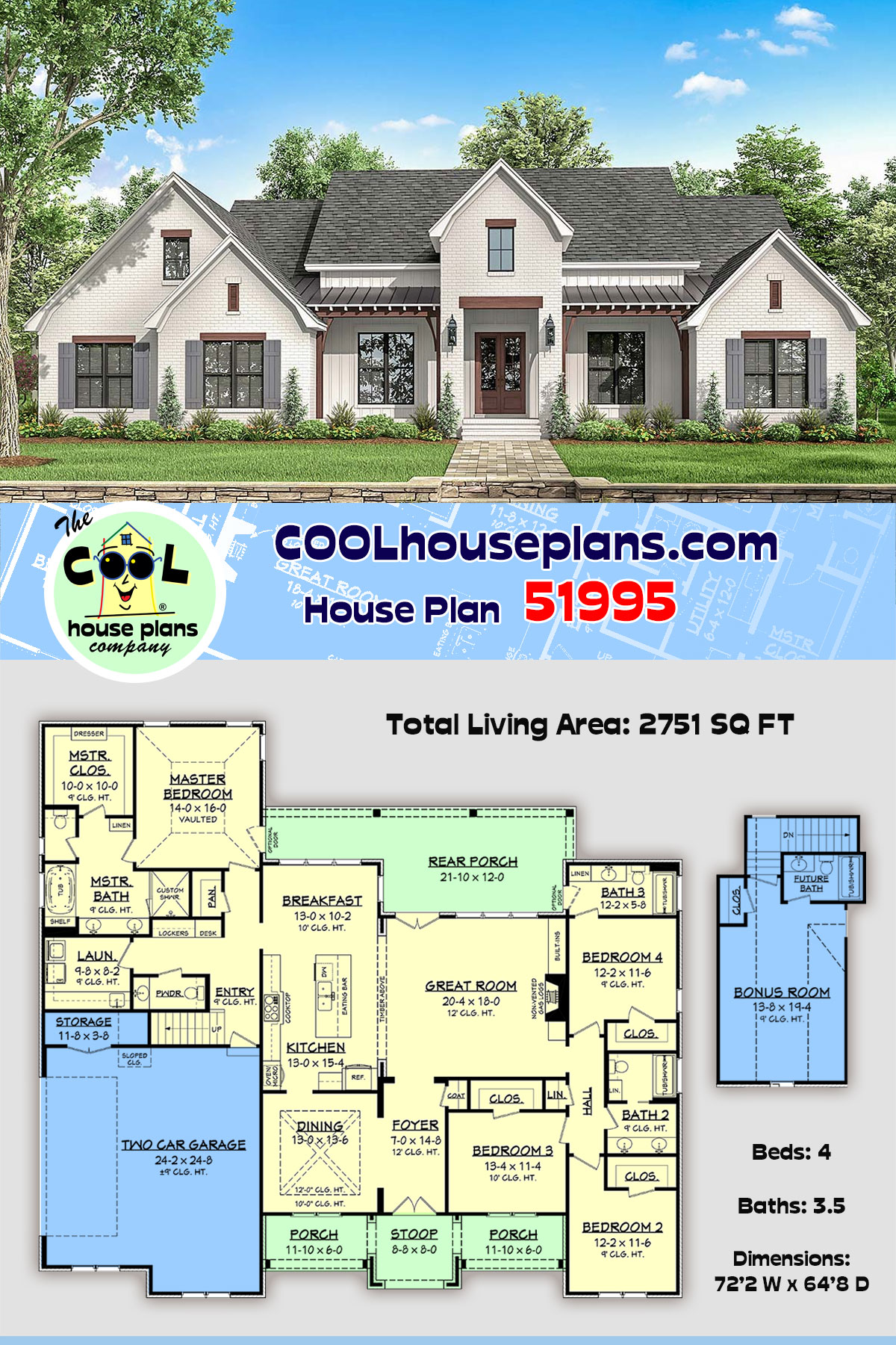 Country, Farmhouse, Traditional House Plan 51995 with 4 Beds, 4 Baths, 2 Car Garage