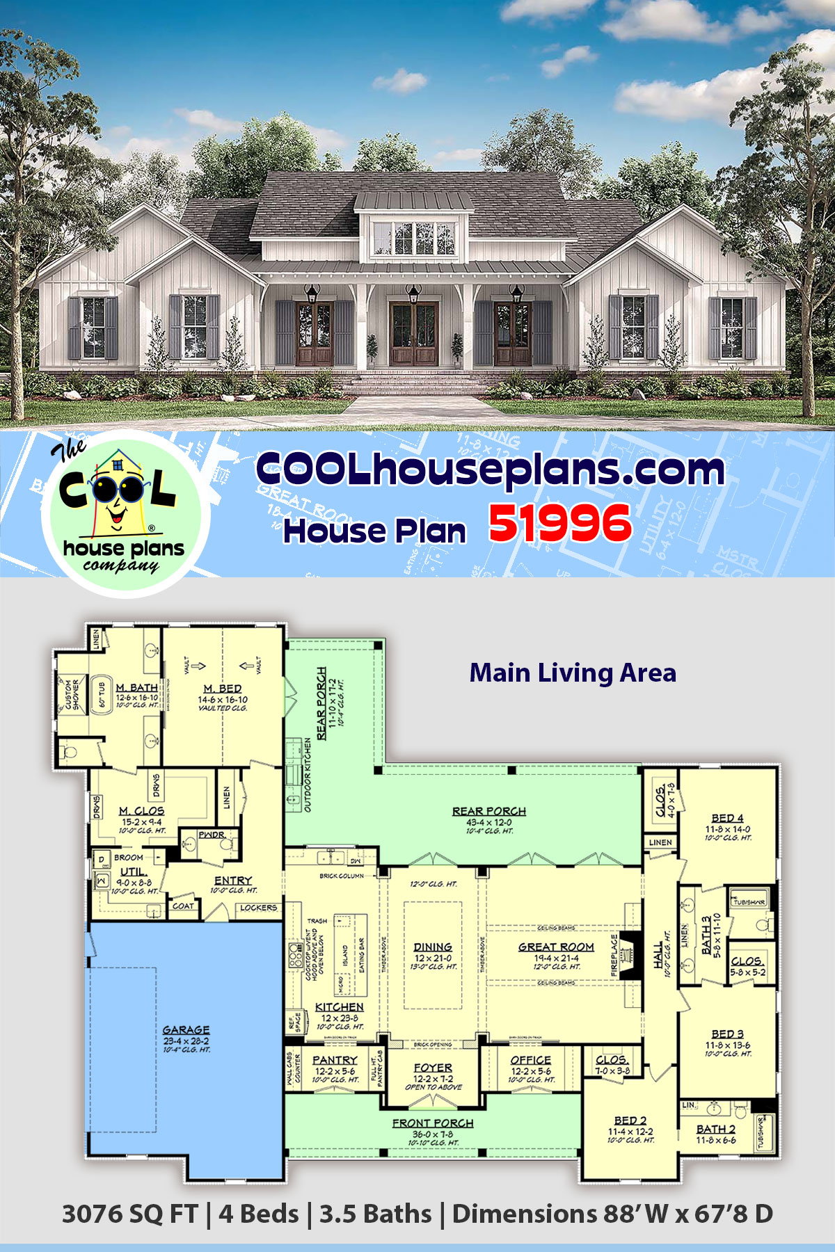 Country, Craftsman, Farmhouse House Plan 51996 with 4 Beds, 4 Baths, 2 Car Garage
