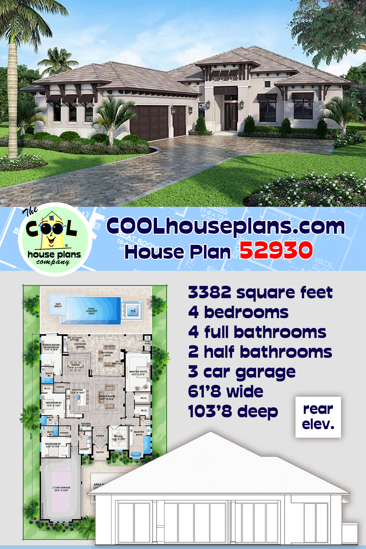 Coastal, Florida, Mediterranean House Plan 52930 with 4 Beds, 6 Baths, 3 Car Garage