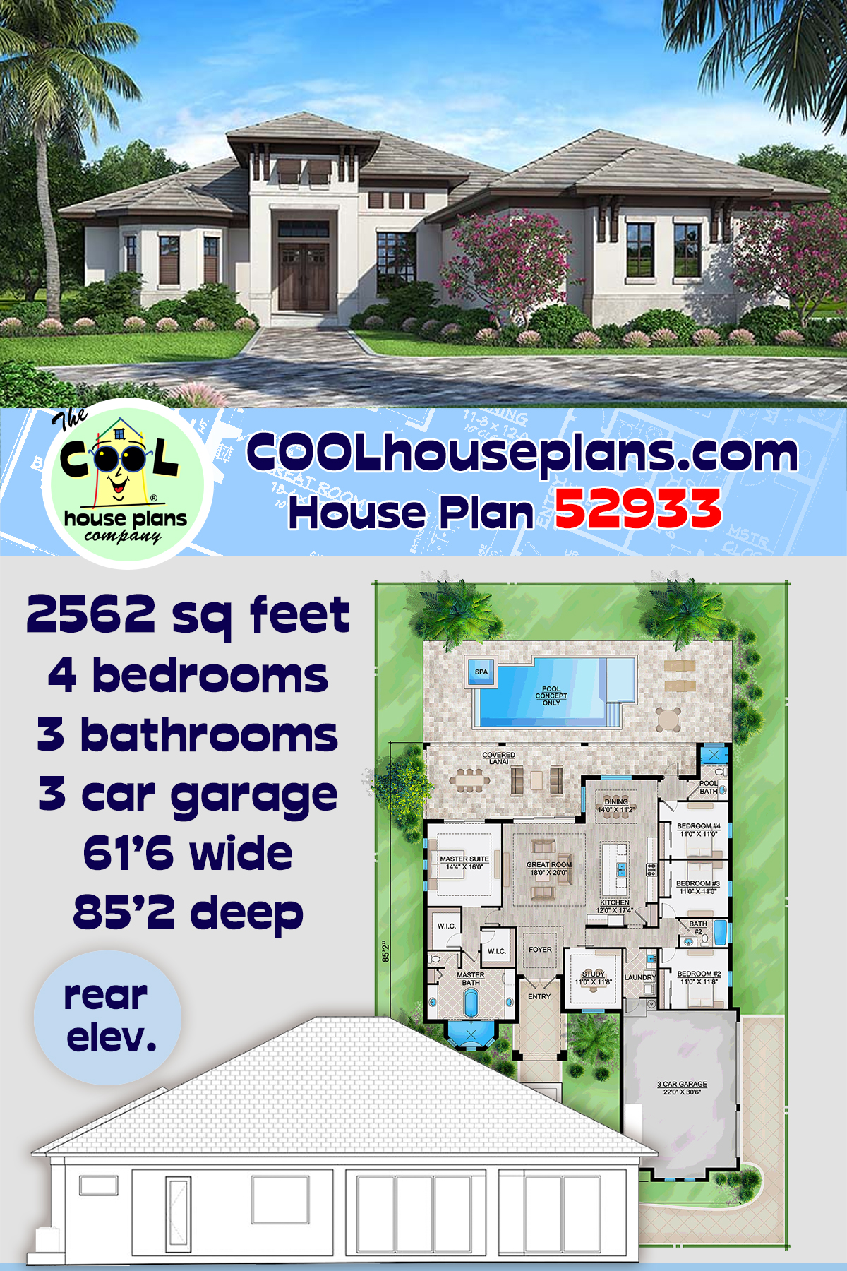 Coastal, Florida, Mediterranean House Plan 52933 with 4 Beds, 3 Baths, 3 Car Garage