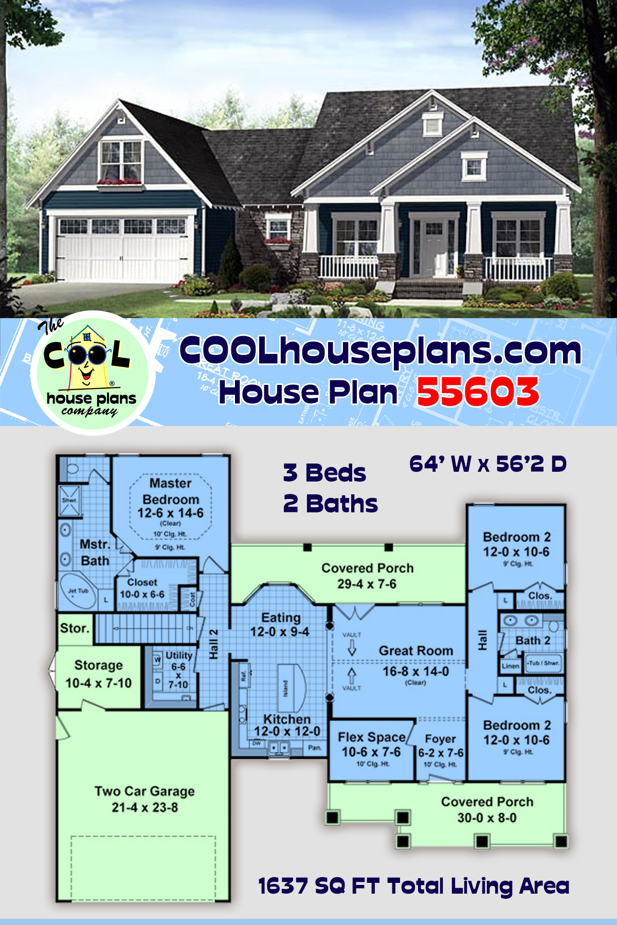 Cottage, Country, Craftsman House Plan 55603 with 3 Beds, 2 Baths, 2 Car Garage