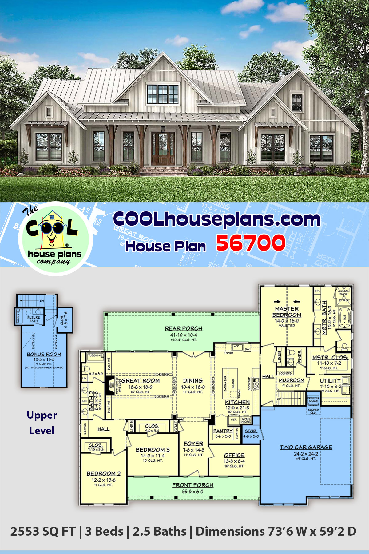 Country, Craftsman, Farmhouse House Plan 56700 with 3 Beds, 3 Baths, 2 Car Garage
