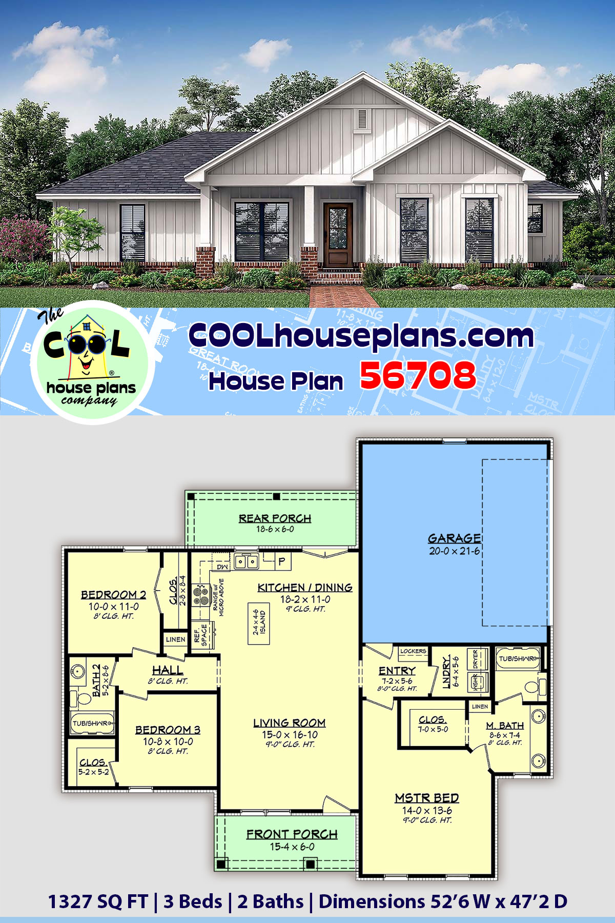 Country, Craftsman, Farmhouse, Traditional House Plan 56708 with 3 Beds, 2 Baths, 2 Car Garage