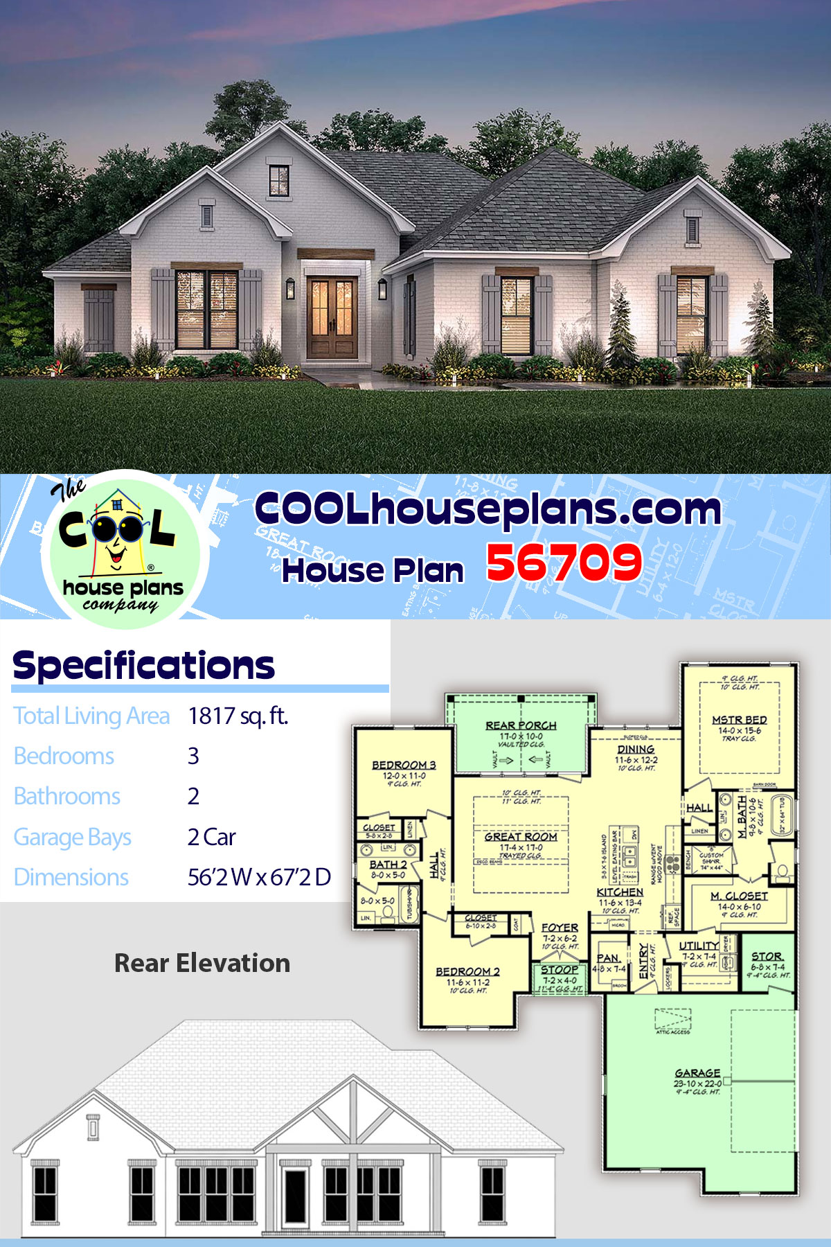 Country, French Country, One-Story, Traditional House Plan 56709 with 3 Beds, 2 Baths, 2 Car Garage