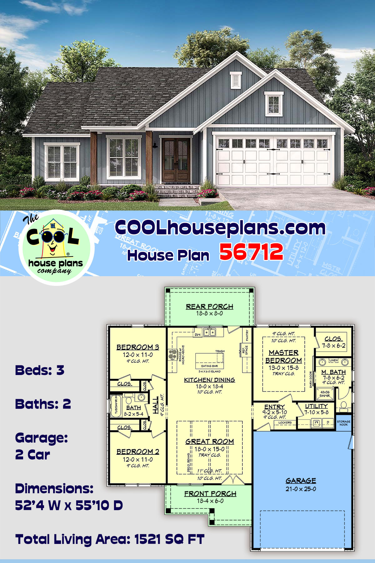 Country, Farmhouse, Southern, Traditional House Plan 56712 with 3 Beds, 2 Baths, 2 Car Garage