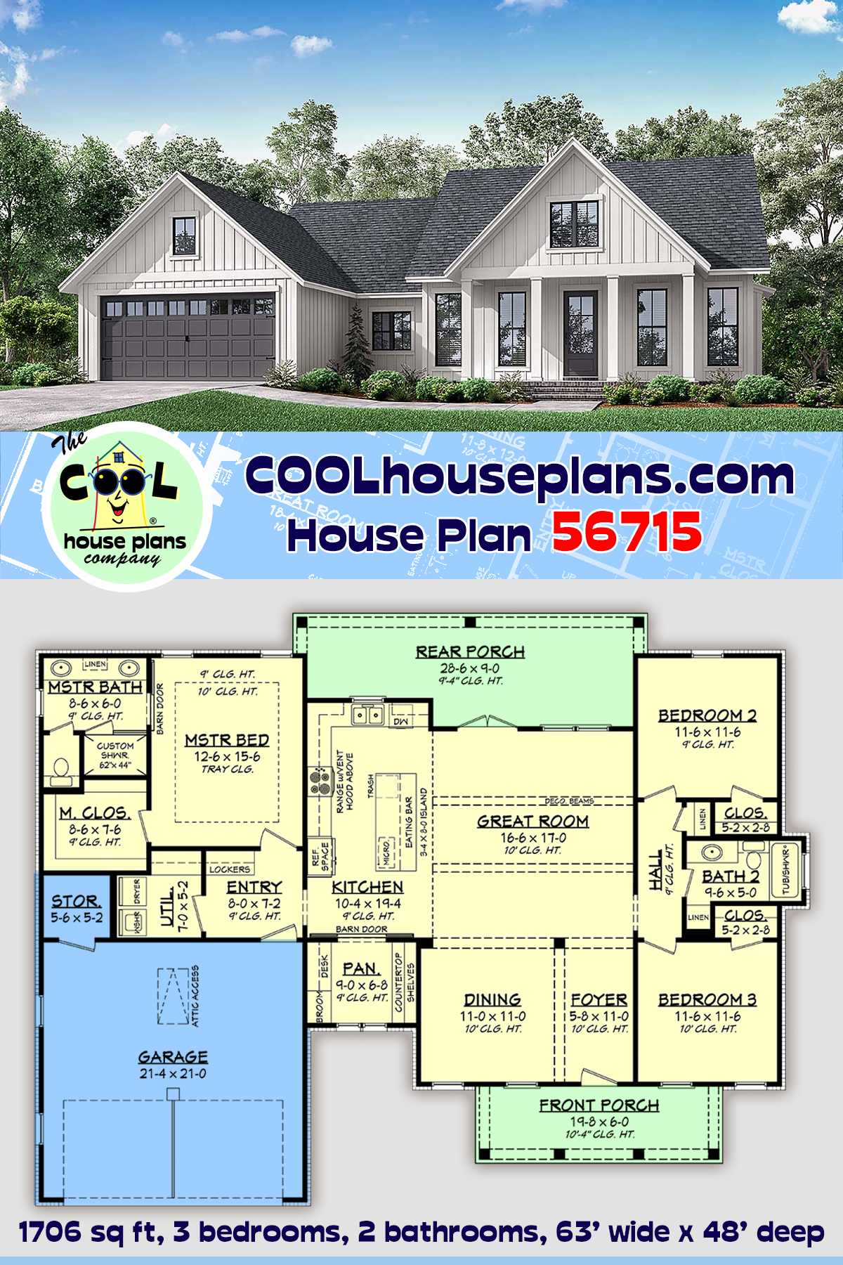 Country, Farmhouse, One-Story, Traditional House Plan 56715 with 3 Beds, 2 Baths, 2 Car Garage