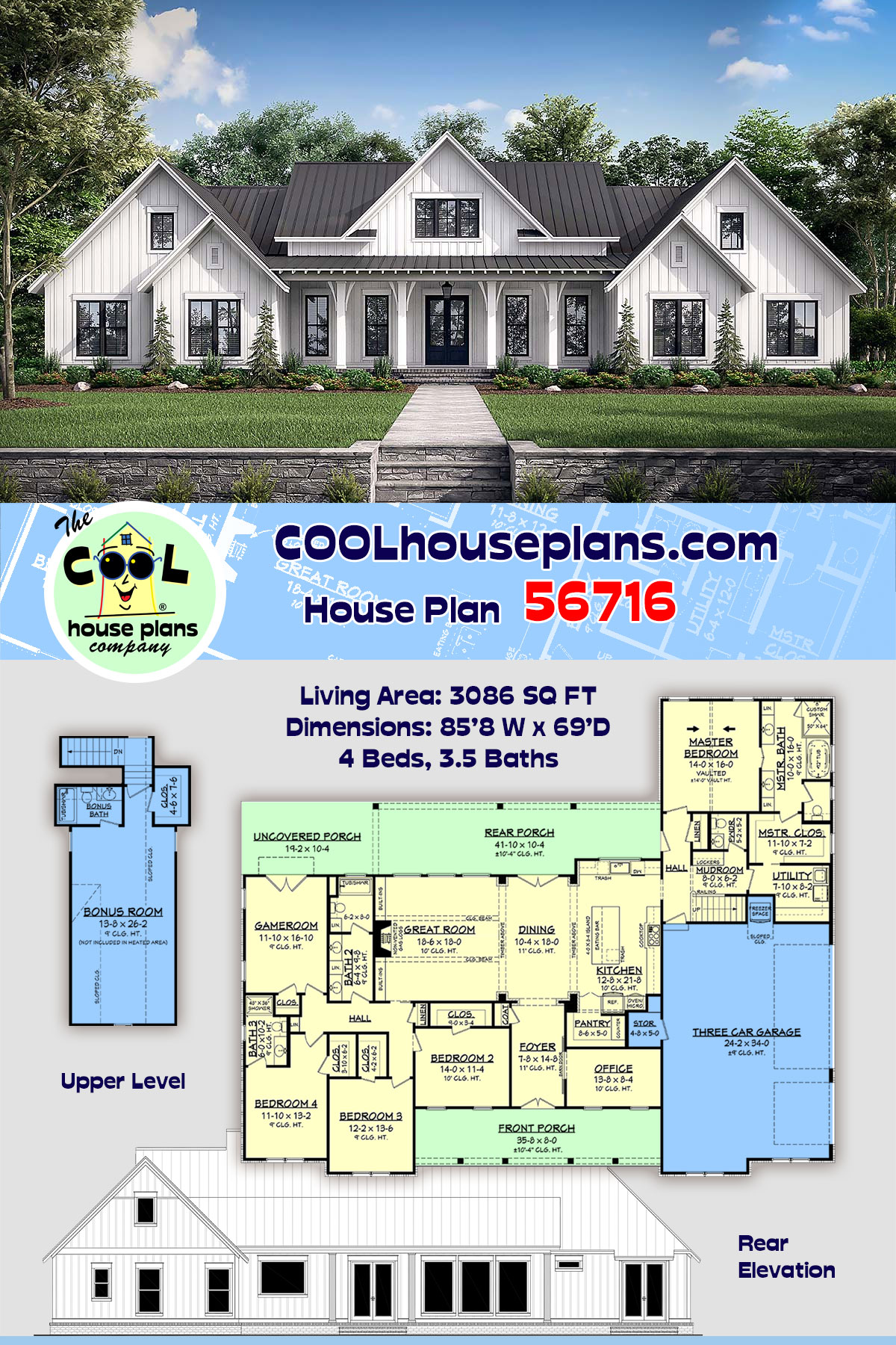 Country, Farmhouse, One-Story, Traditional House Plan 56716 with 4 Beds, 4 Baths, 3 Car Garage
