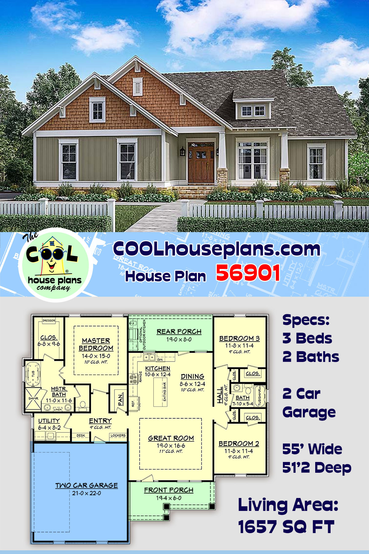 Cottage, Country, Craftsman, Traditional 2 Car Garage Plan 56901 with 3 Beds, 2 Baths