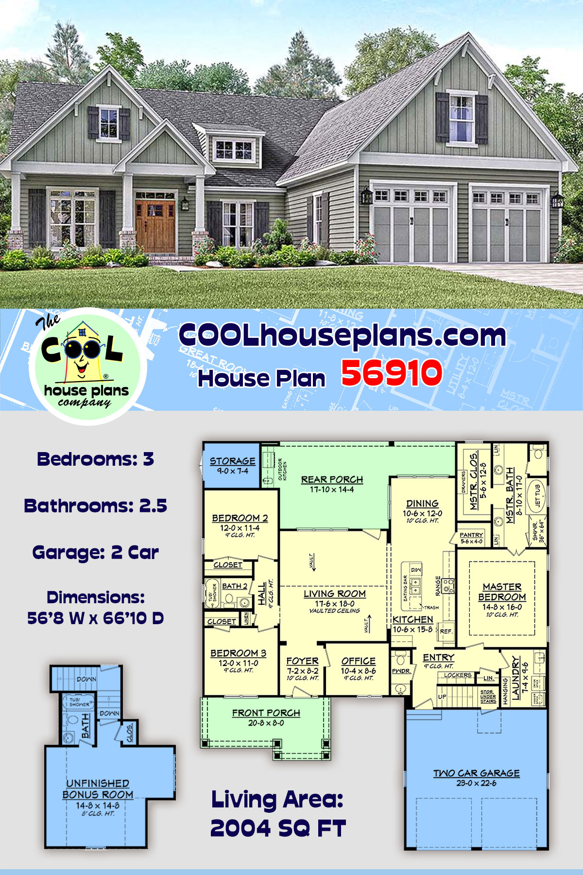 Country, Craftsman, Southern, Traditional House Plan 56910 with 3 Beds, 3 Baths, 2 Car Garage