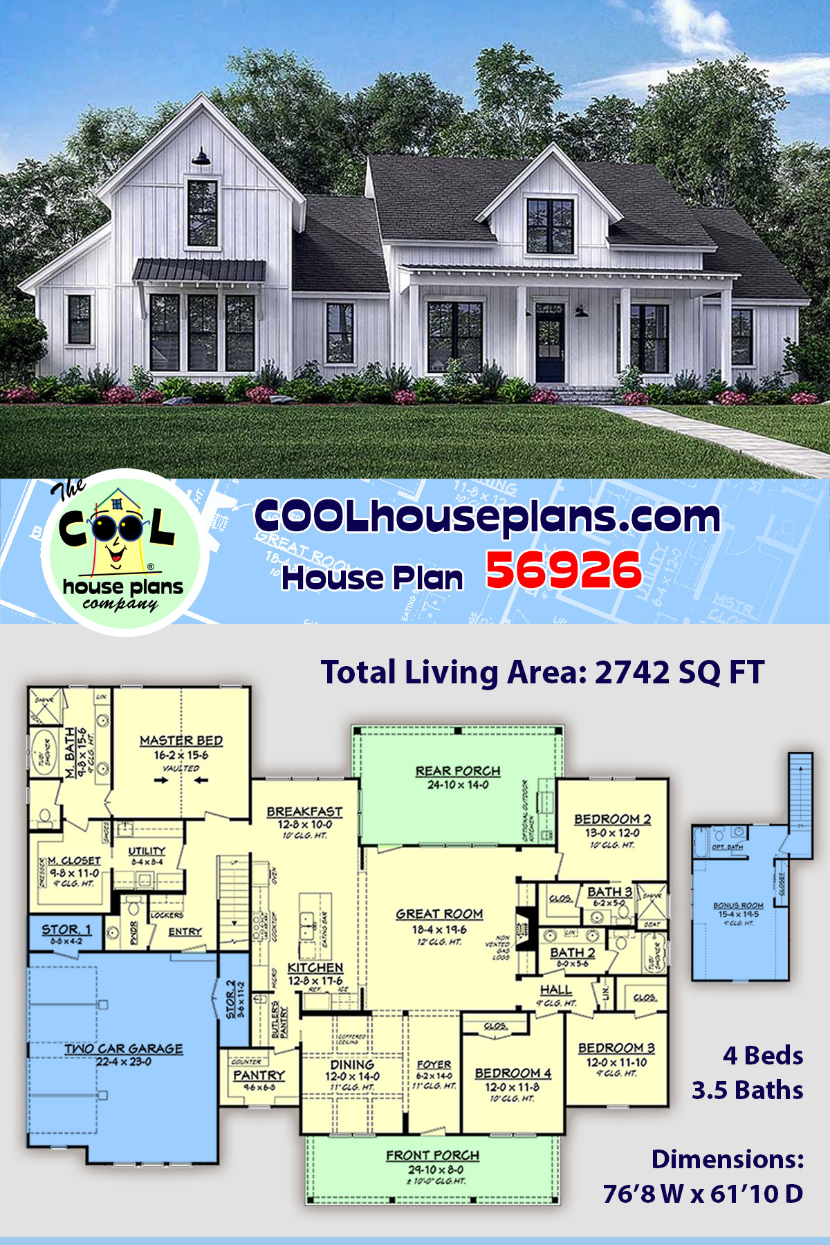 Cottage, Country, Farmhouse, Southern House Plan 56926 with 4 Beds, 4 Baths, 2 Car Garage