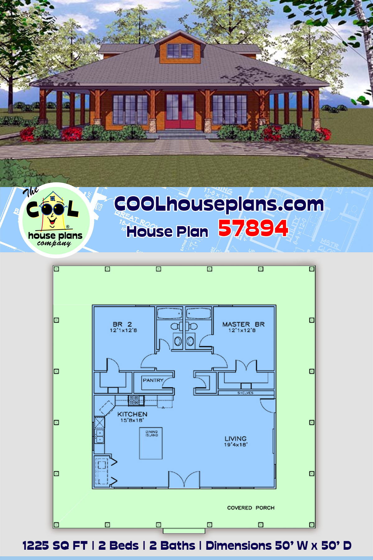 Cottage, Florida, Southern House Plan 57894 with 2 Beds, 2 Baths