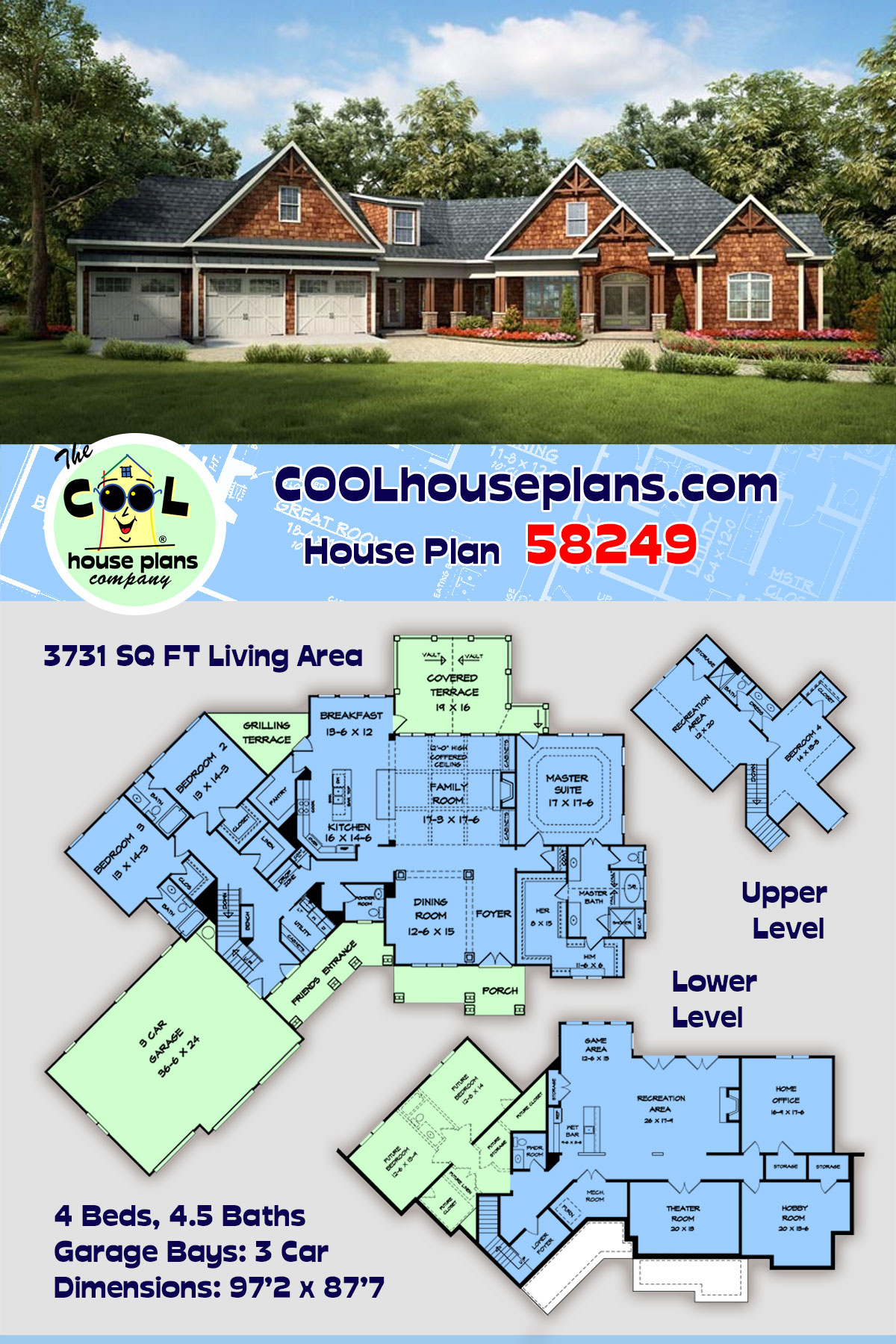 Craftsman, Historic House Plan 58249 with 4 Beds, 5 Baths, 3 Car Garage