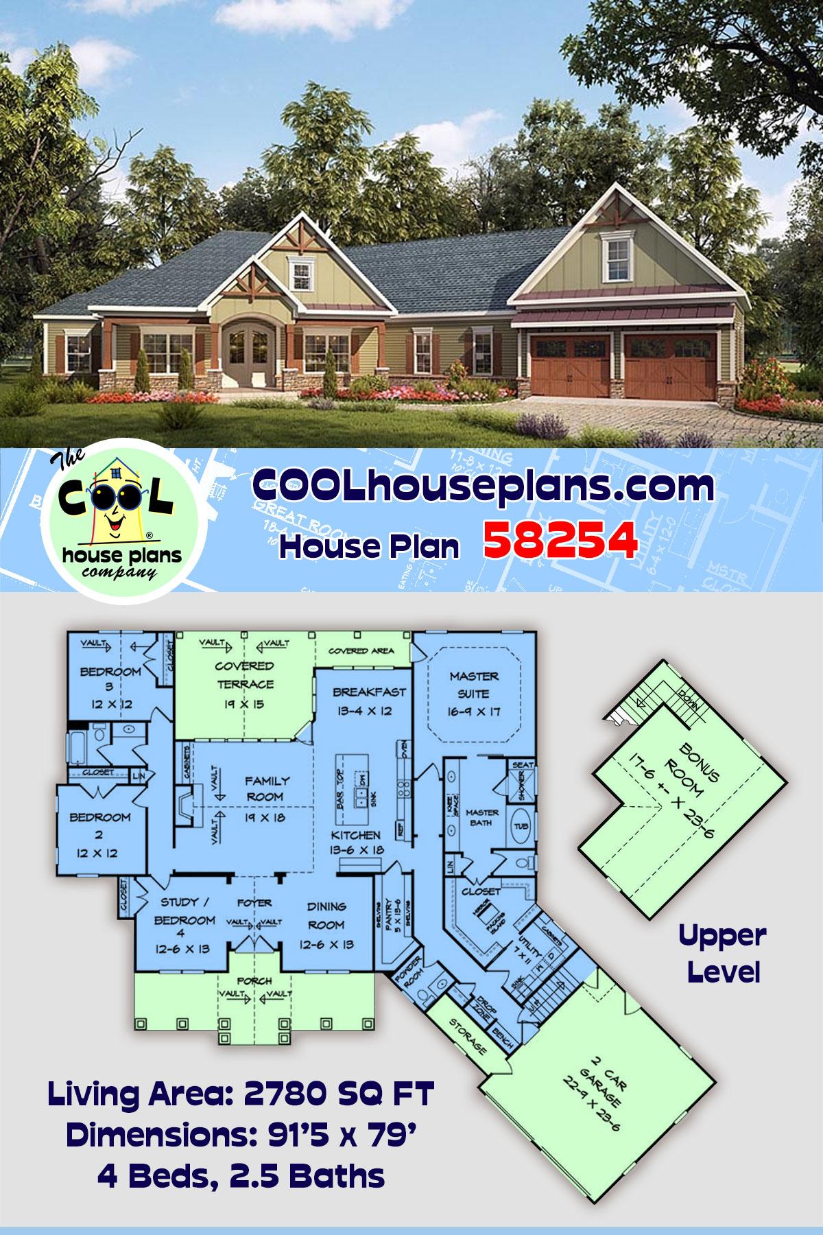 Craftsman House Plan 58254 with 4 Beds, 3 Baths, 2 Car Garage