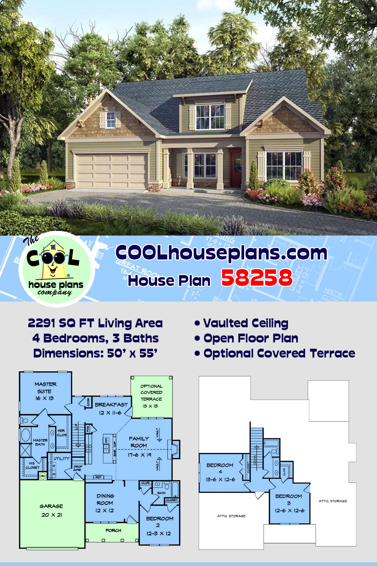 Craftsman, Traditional House Plan 58258 with 4 Beds, 3 Baths, 2 Car Garage
