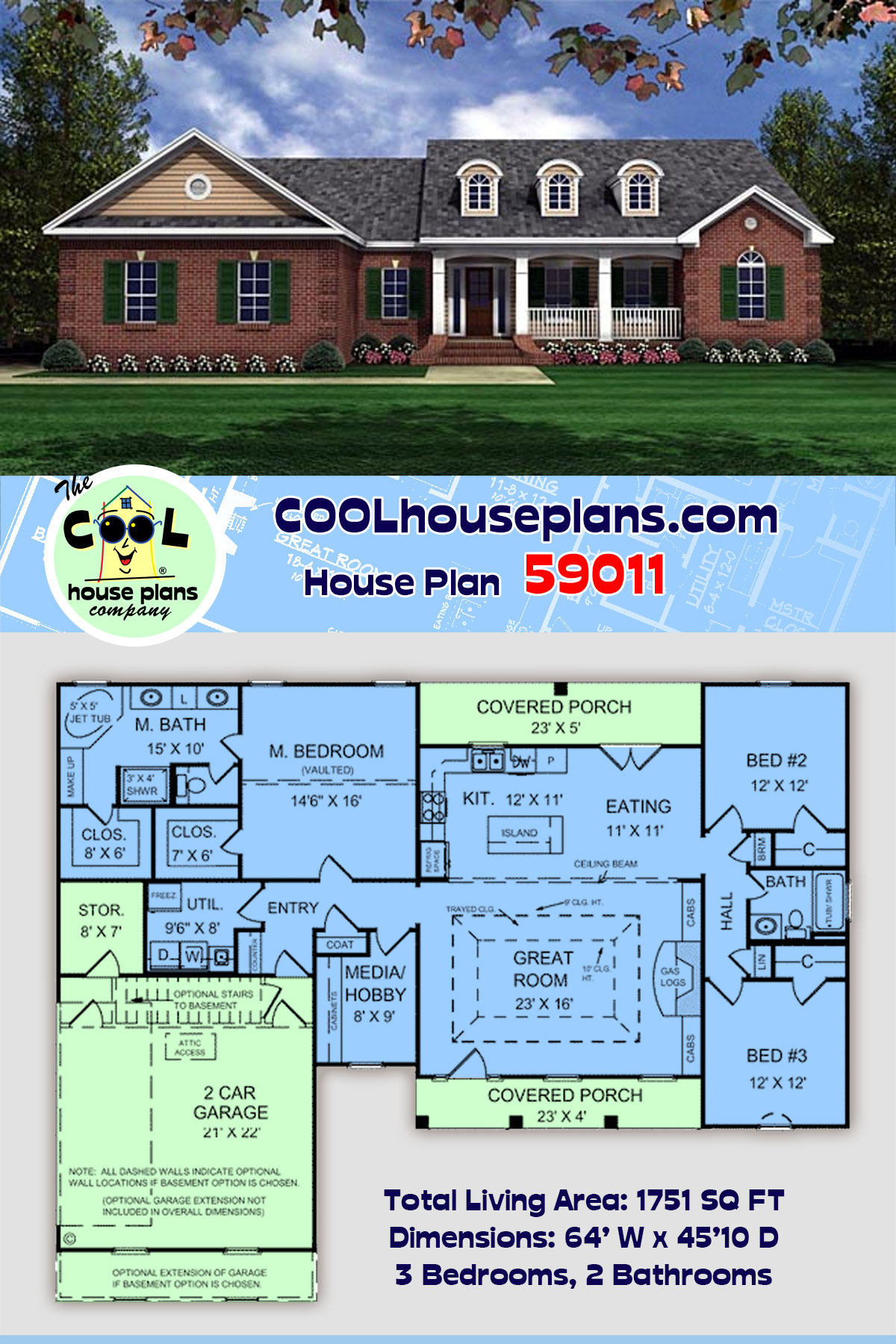 European, Ranch, Traditional House Plan 59011 with 3 Beds, 2 Baths, 2 Car Garage
