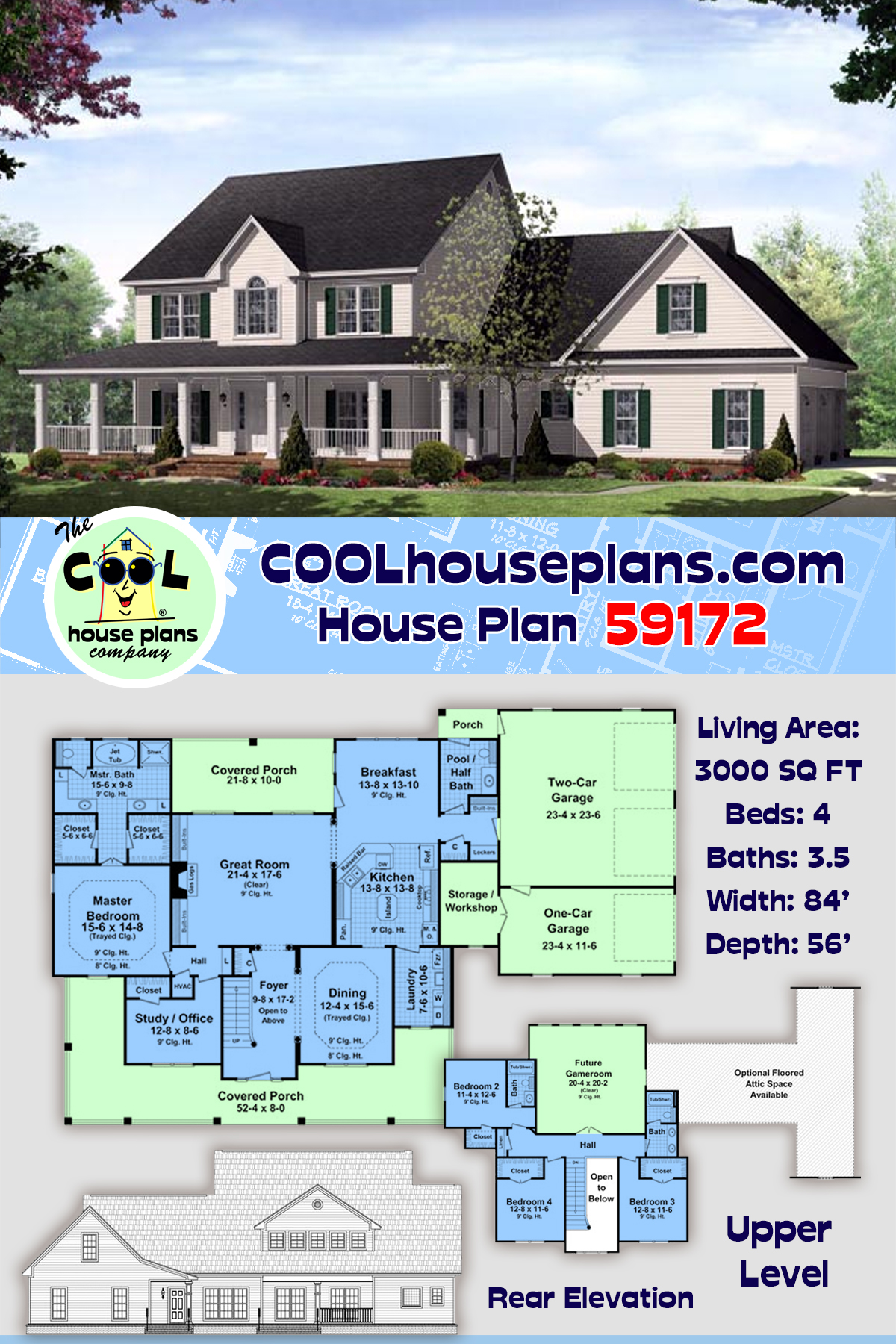 Country, Farmhouse, Traditional House Plan 59172 with 4 Beds, 4 Baths, 3 Car Garage
