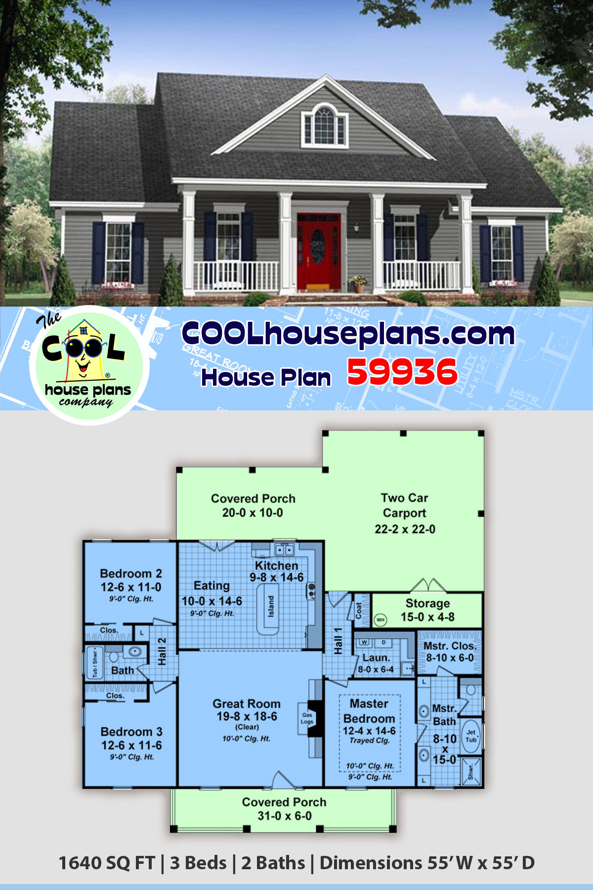 Country, Traditional House Plan 59936 with 3 Beds, 2 Baths, 2 Car Garage