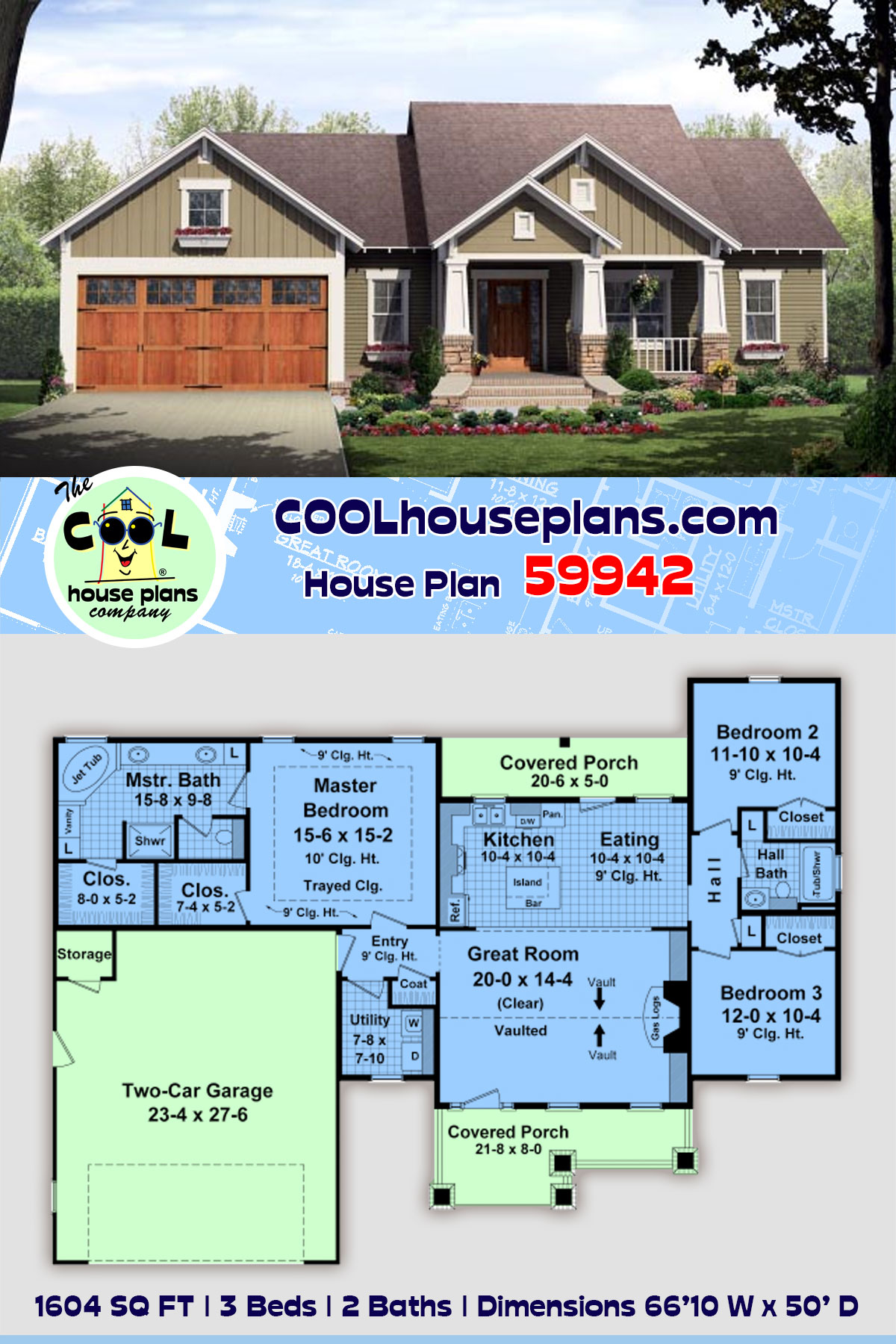 Bungalow, Craftsman House Plan 59942 with 3 Beds, 2 Baths, 2 Car Garage