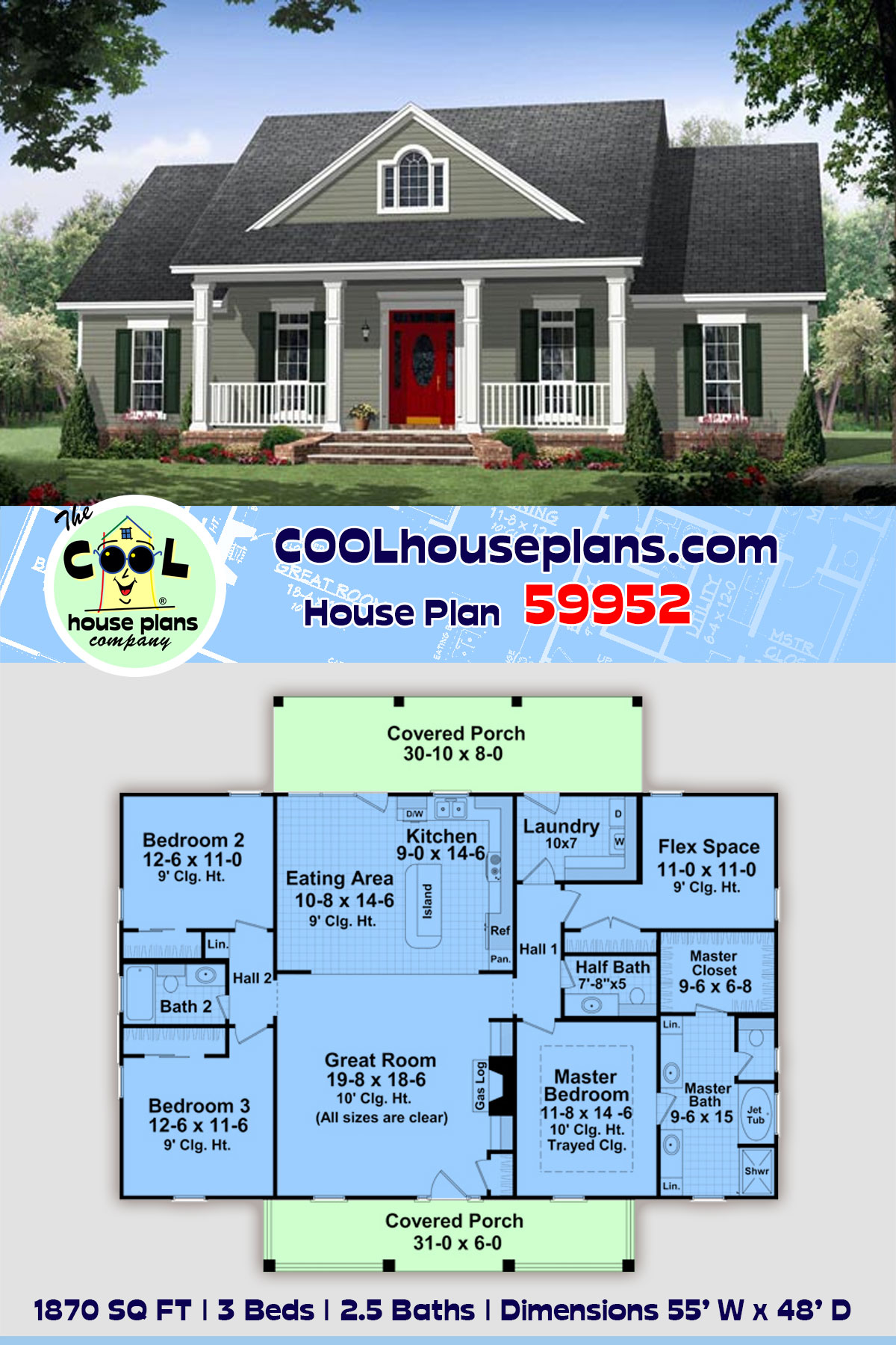 Colonial, Country, Traditional House Plan 59952 with 3 Beds, 3 Baths