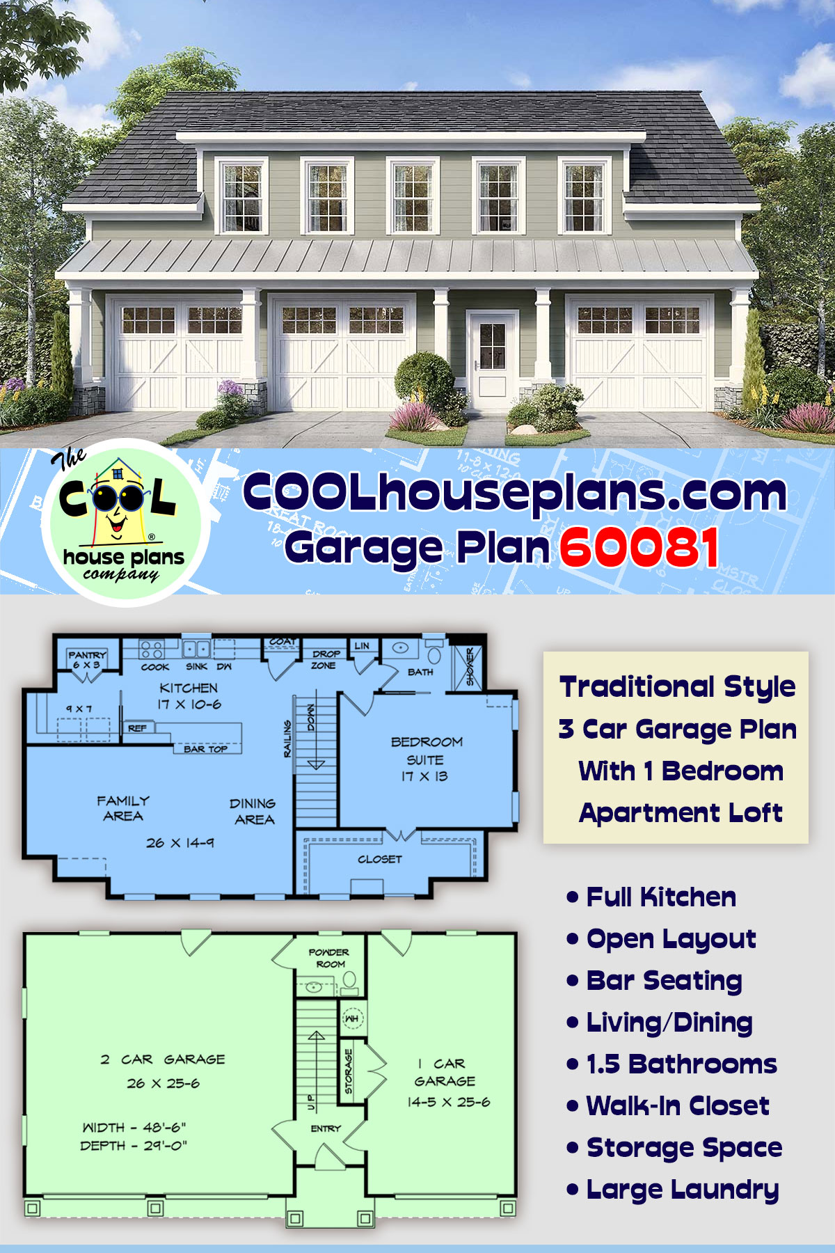 Country, Traditional 3 Car Garage Apartment Plan 60081 with 1 Beds, 2 Baths