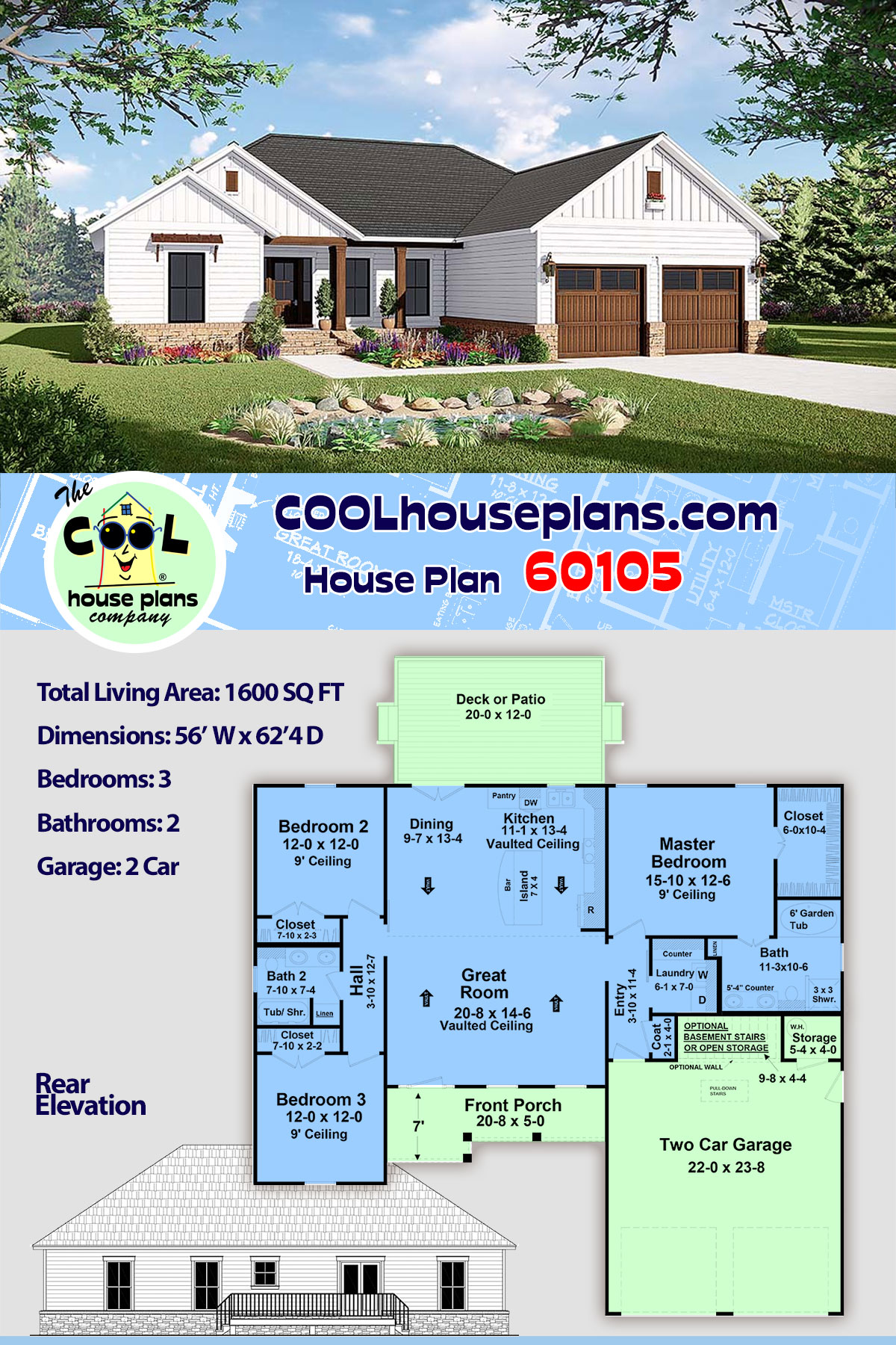 Country, Farmhouse, Ranch, Traditional House Plan 60105 with 3 Beds, 2 Baths, 2 Car Garage